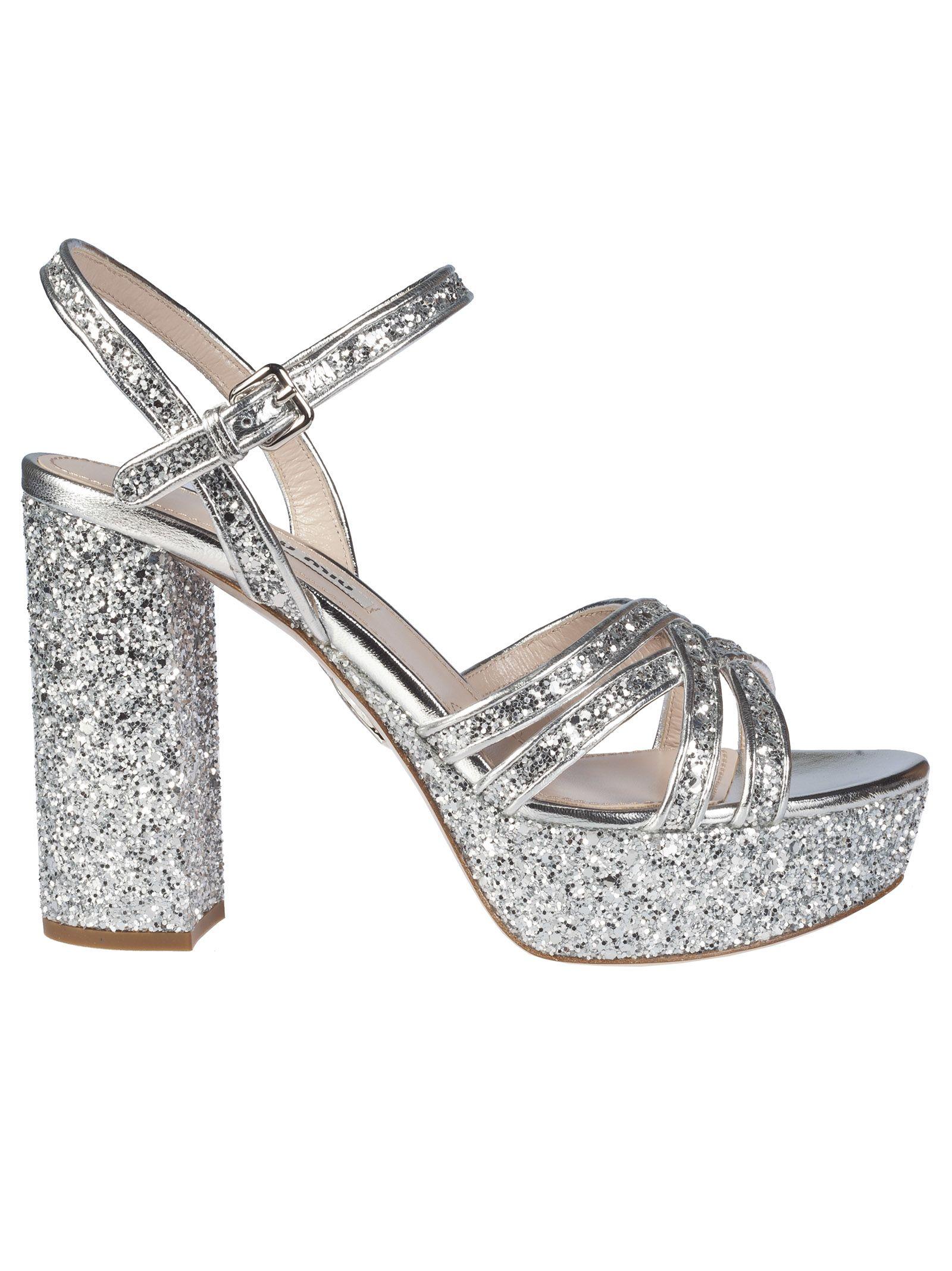 5481675a276 Miu Miu Miu Miu Glitter Platform Sandals - Silver - 10840679