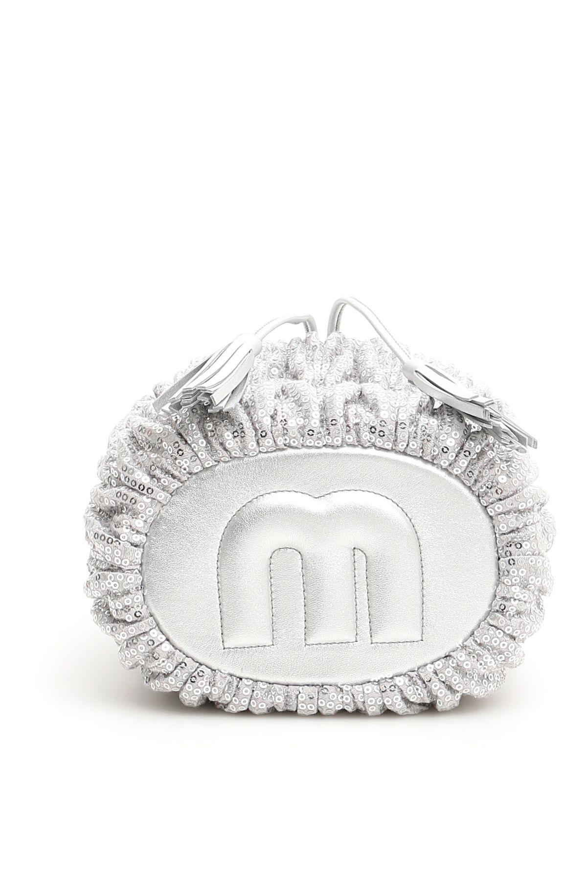 Miu Miu Miu Miu Sequins Matelassé Bucket Bag - ARGENTO Metallico ... cb5417a6b2