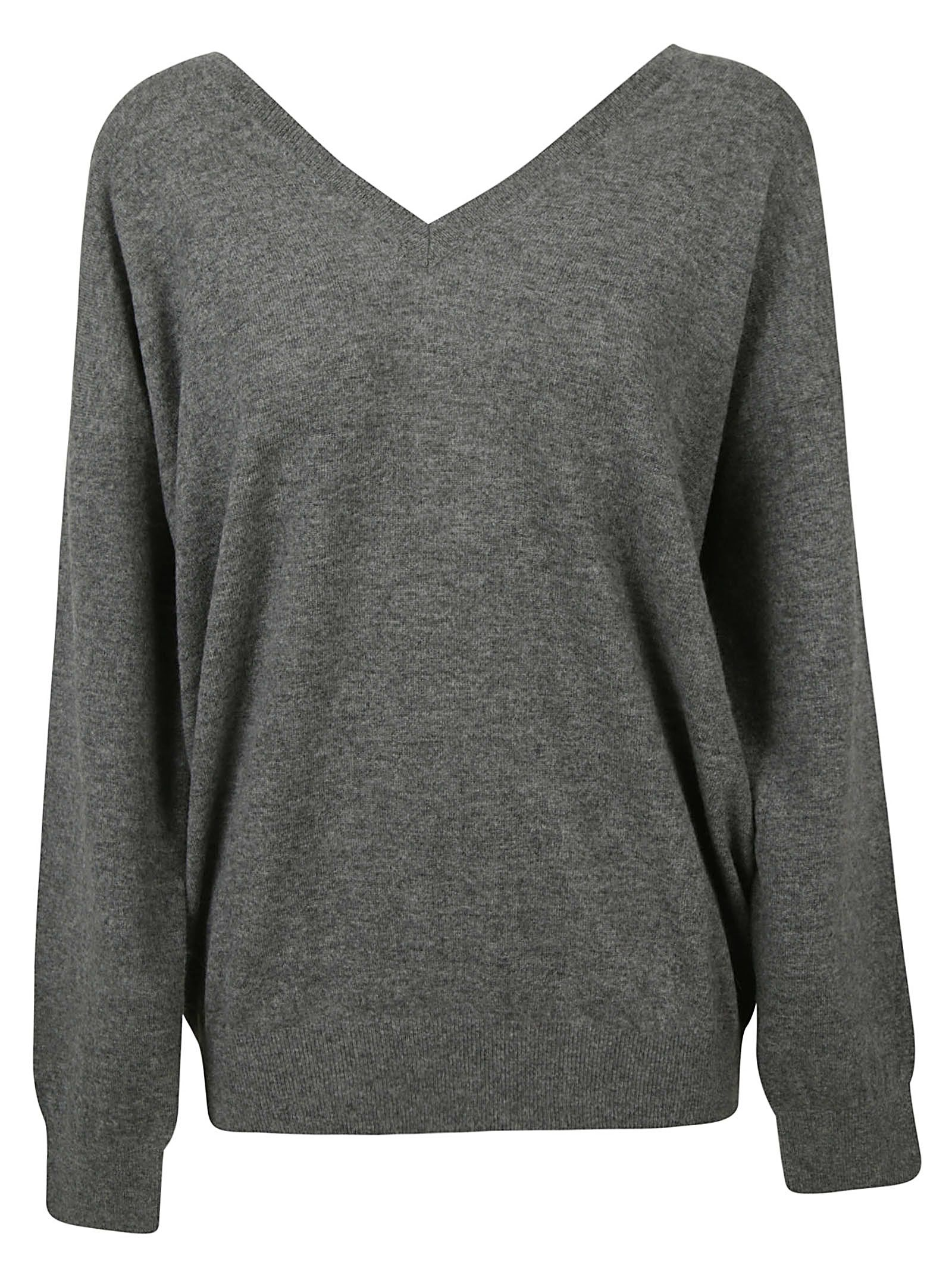 Stella Neck V Mccartney Melange Sweater Grey FRrFq