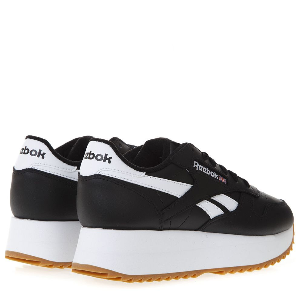 c0549710221 ... Reebok Black Lace Up Platform Sneakers In Faux Leather - Black white ...