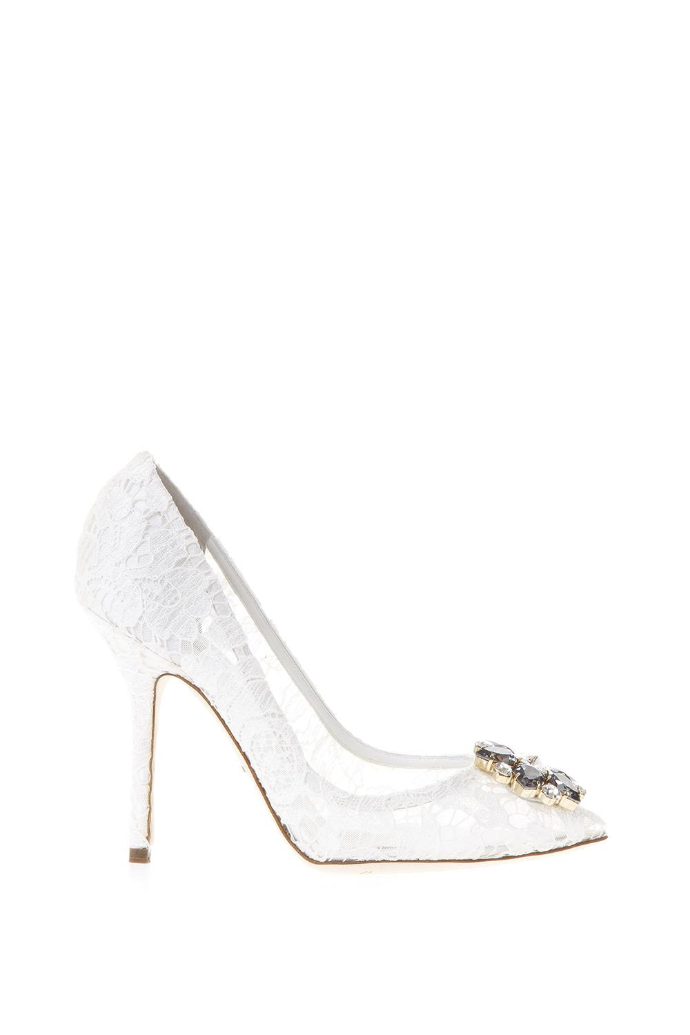 0f26ffd2731 Dolce   Gabbana Taormina Lace Open Toe Court Shoes With Embroidery - White  ...