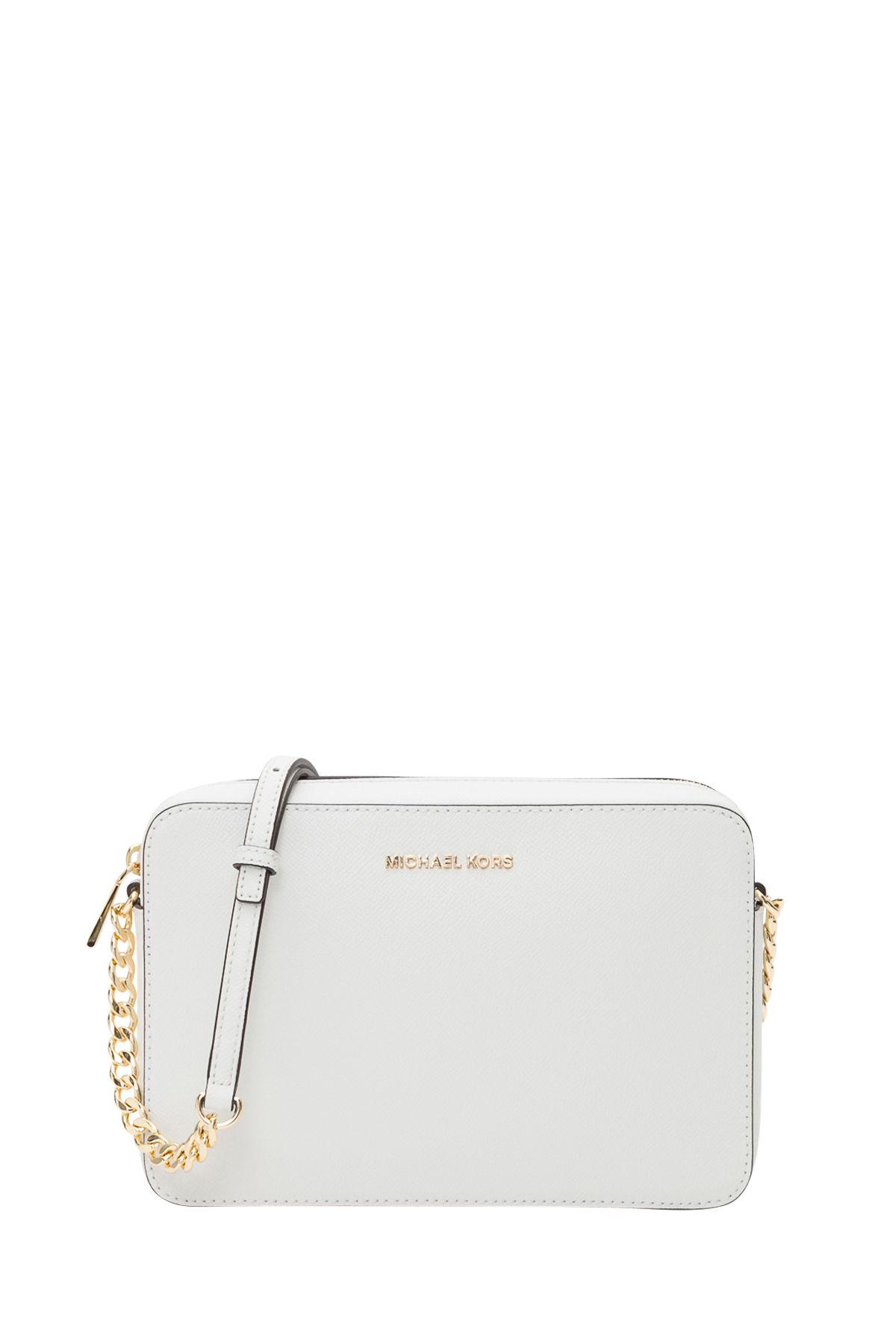 4b3964b3e3dfed MICHAEL Michael Kors Jet Set Travel Saffiano Leather Crossbody Bag - Bianco  ...