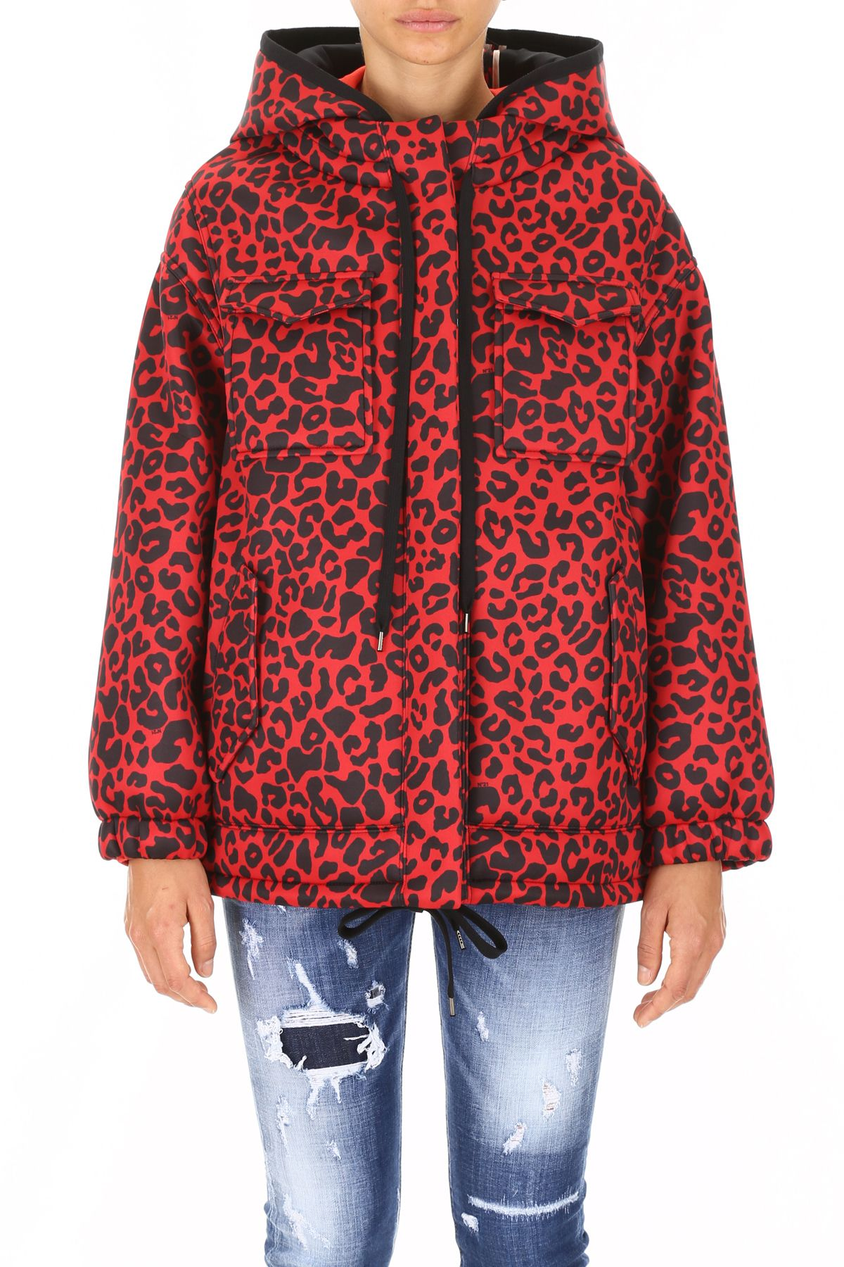 0bf0b7c1ad96 N.21 N.21 Leopard Printed Jacket - BLACK RED (Red) - 10663696 | italist