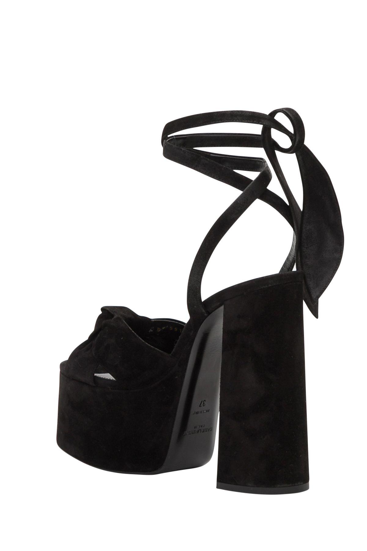 7866416e602 Saint Laurent Saint Laurent Paige Suede Platform Sandals - Black ...