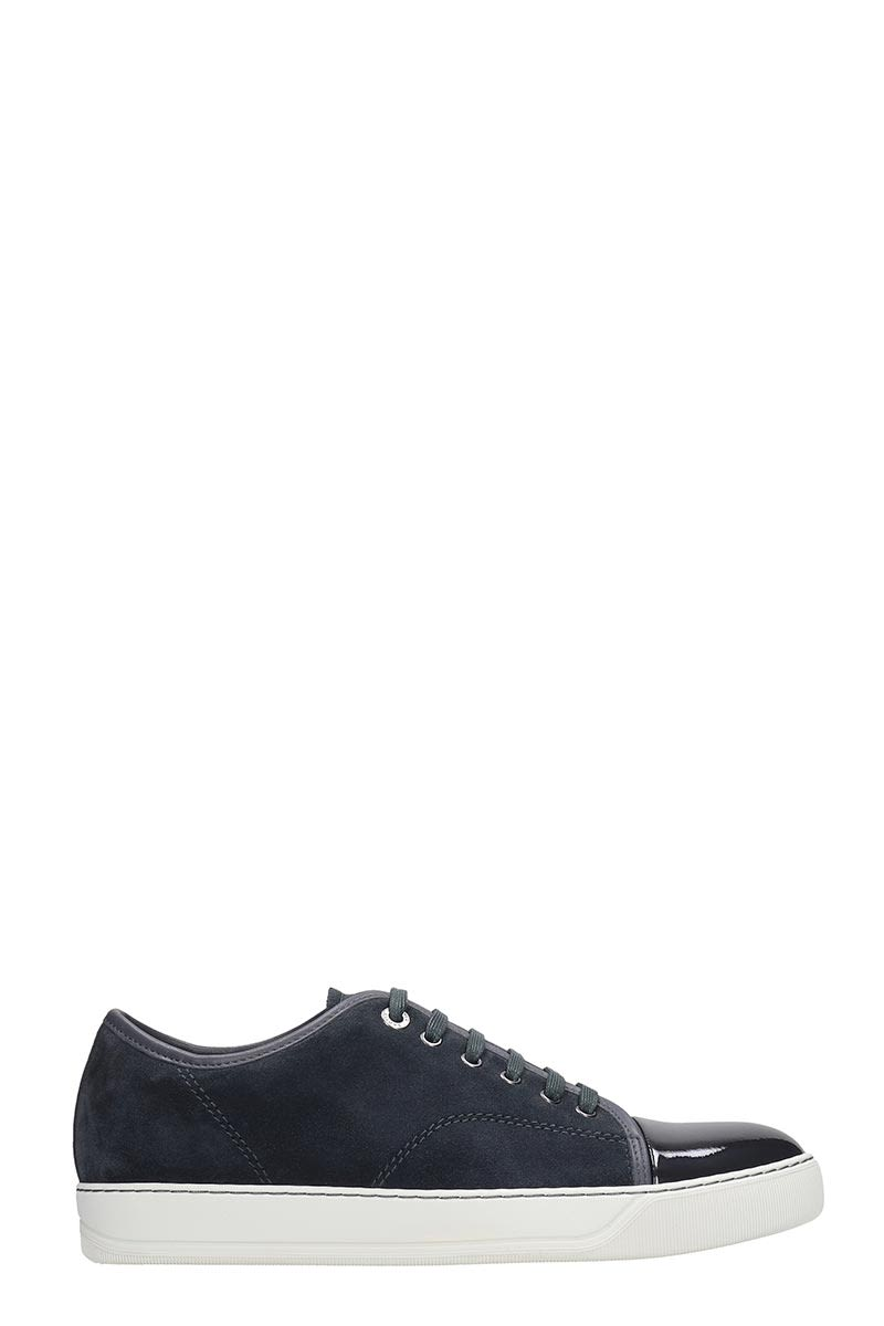 Lanvin Low Top Sneakers In Grey Suede And Leather