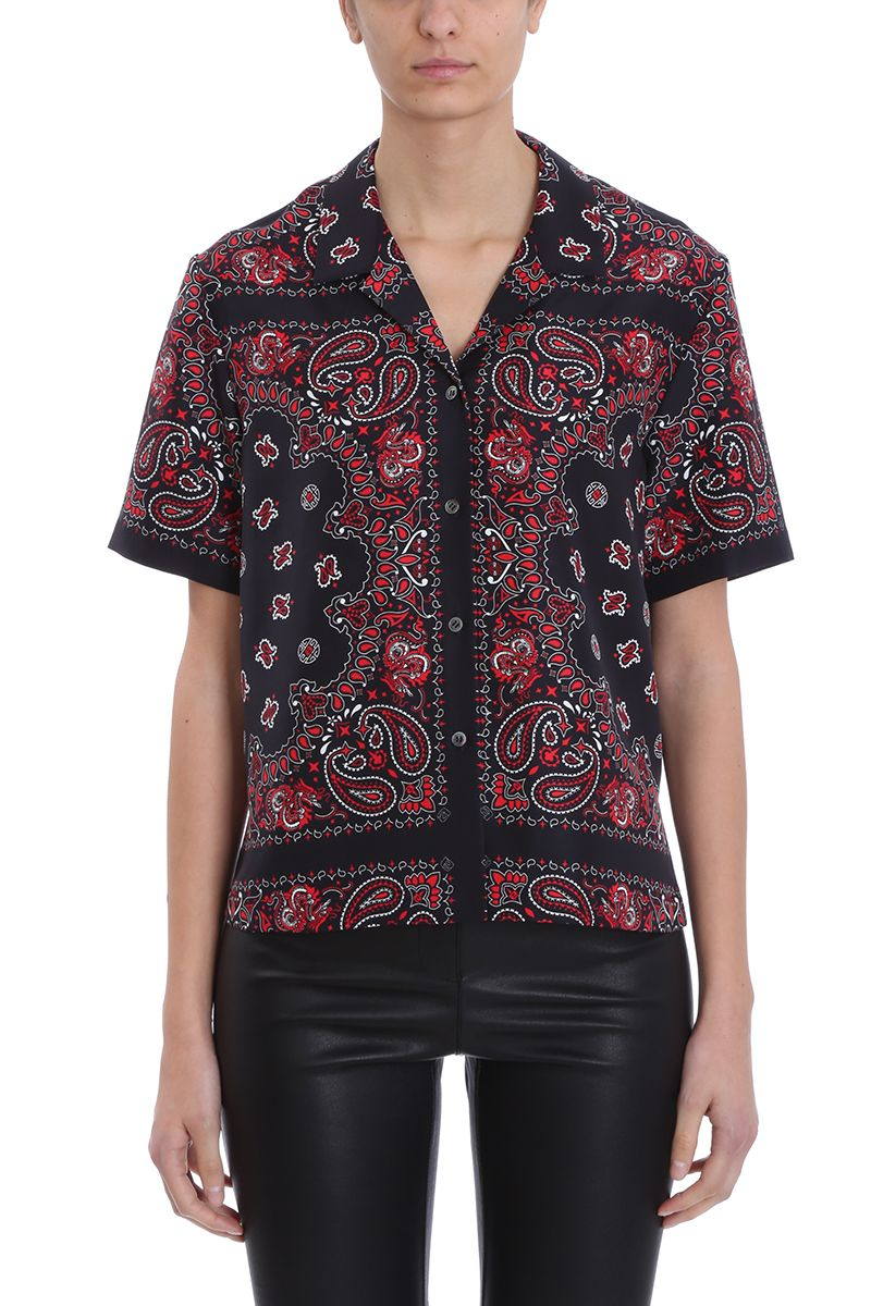 925c8a8c062be Alexander Wang Black Red Silk Bandana Print Button Down Shirt - black ...
