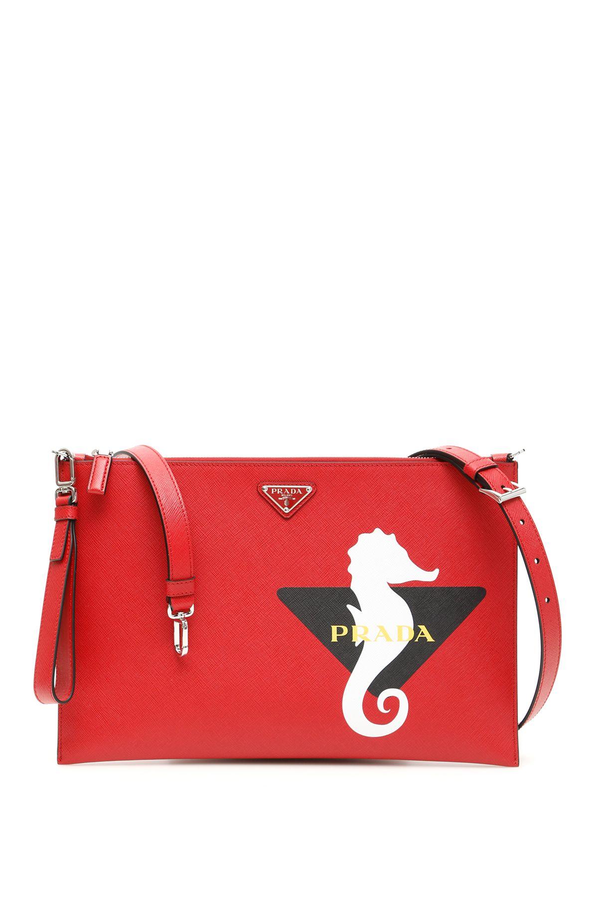 c1cab5b70c5ae8 Prada Prada Seahorse Logo Clutch - FUOCO BIANCO (Red) - 10839618 ...