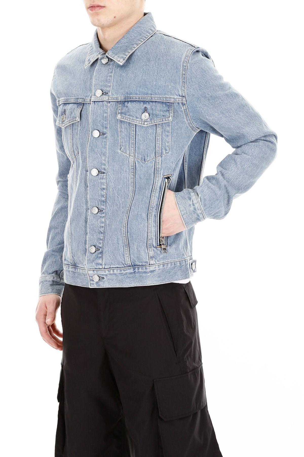 21118b63 Balmain Balmain Denim Jacket With Logo Embroidery - BLEU (Light blue ...
