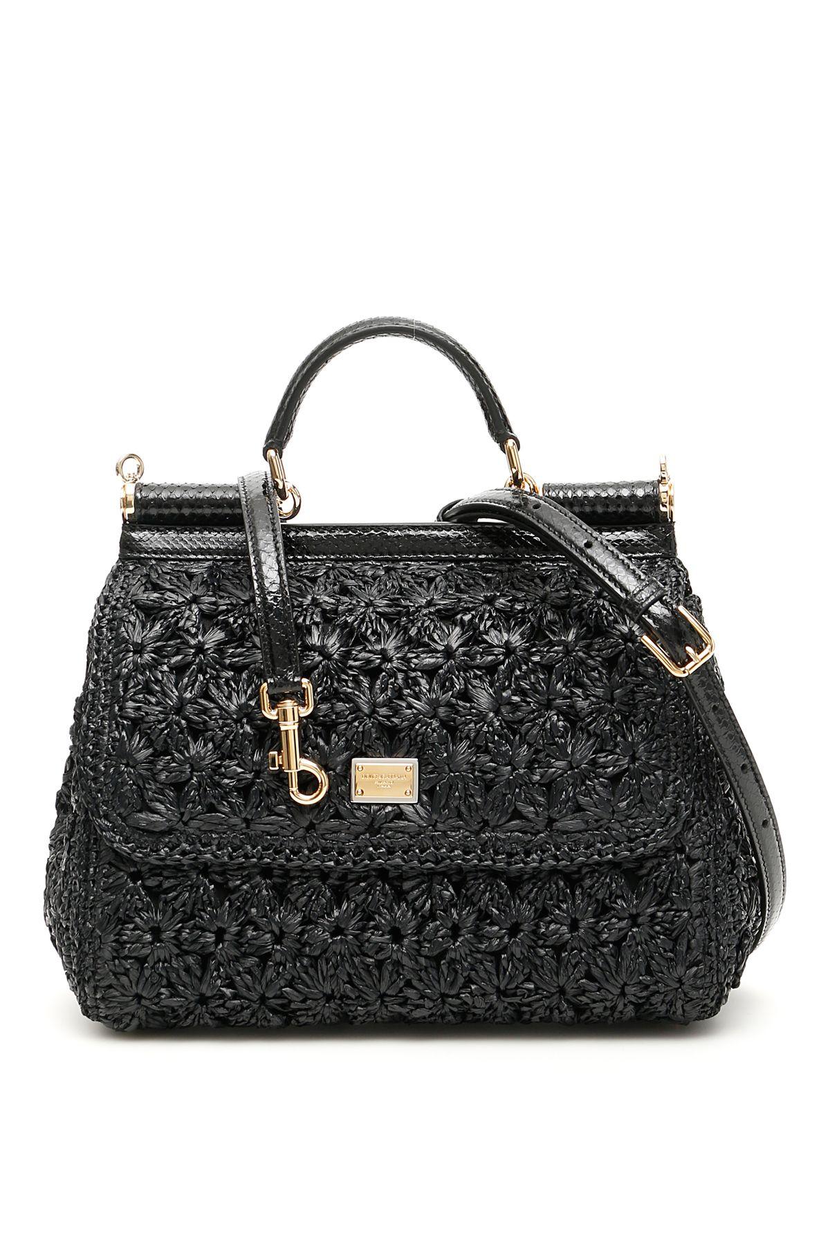 Dolce   Gabbana Dolce   Gabbana Crochet Raffia Sicily Bag - NERO ... 332f0b54dfd55