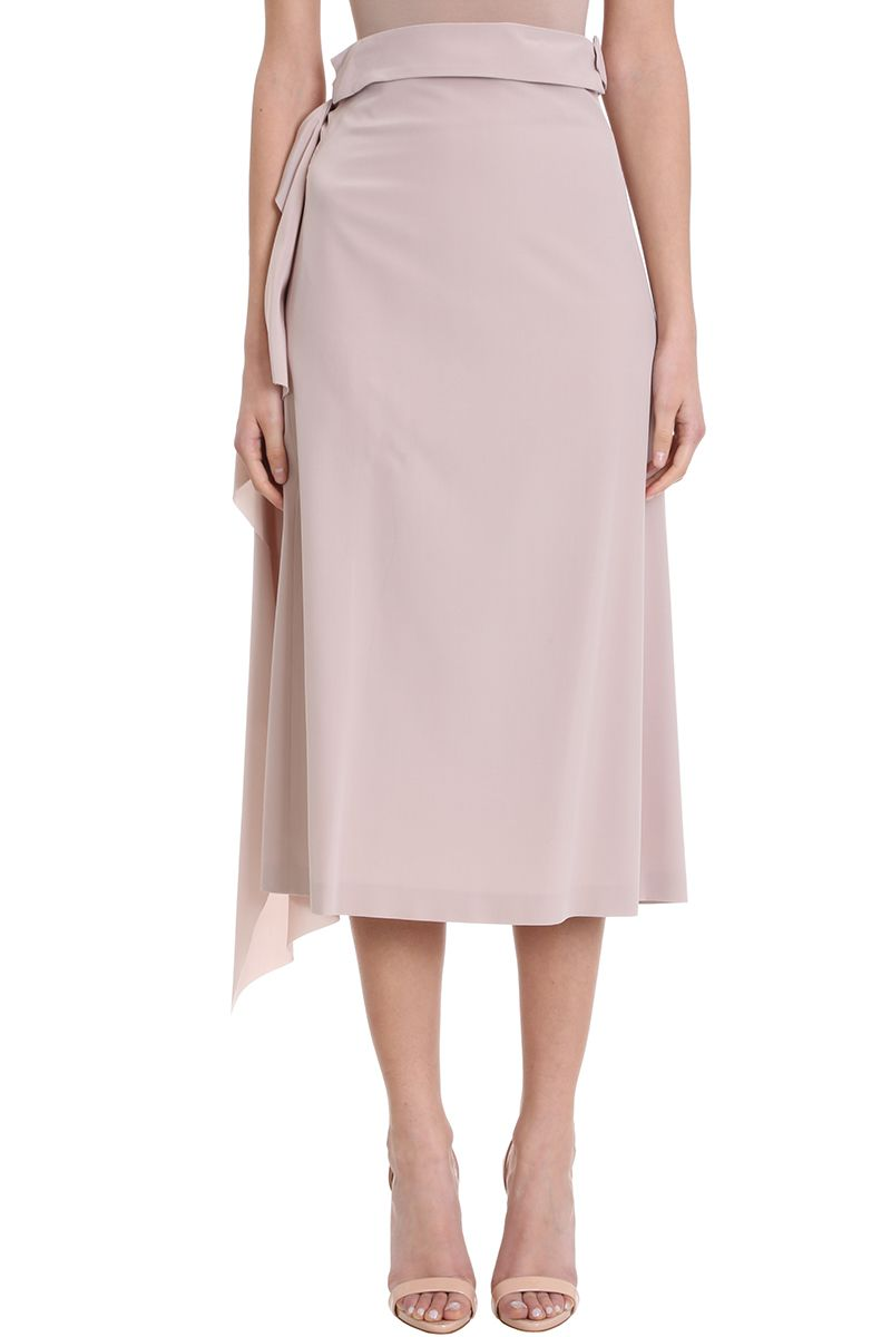 775d41683 Maison Flaneur Maison Flaneur Asymmetric Powder Silk Skirt - rose ...