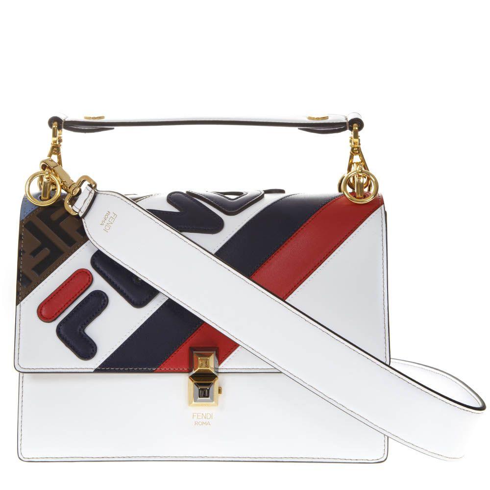 5f330f73f234 Fendi Fendi Kan I White Leather Bag With Fendi Mania Logo - White ...