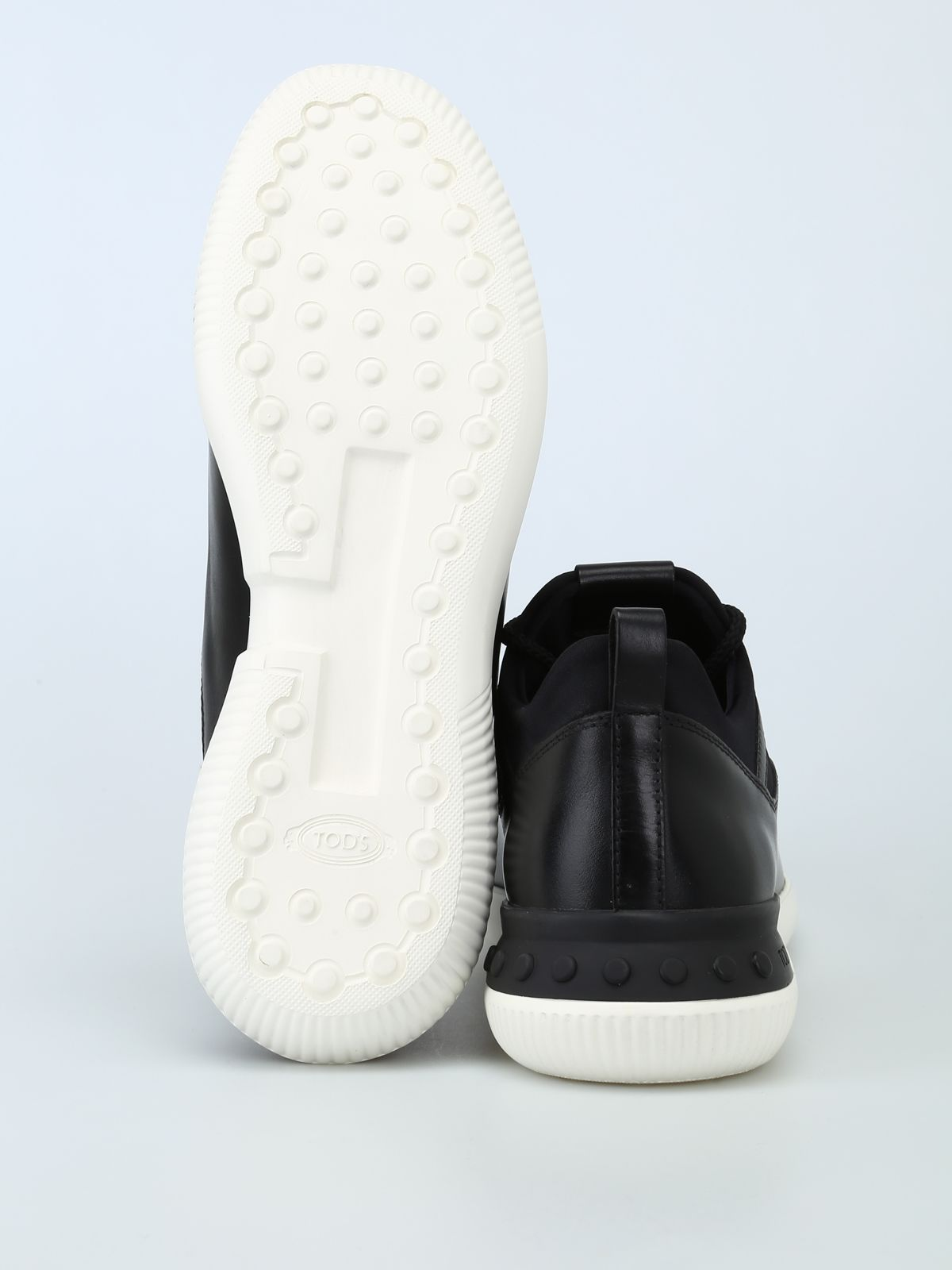 a86a24e6b6c010 ... Tod s No-code Sneakers In Leather And Scuba-effect Fabric - Black