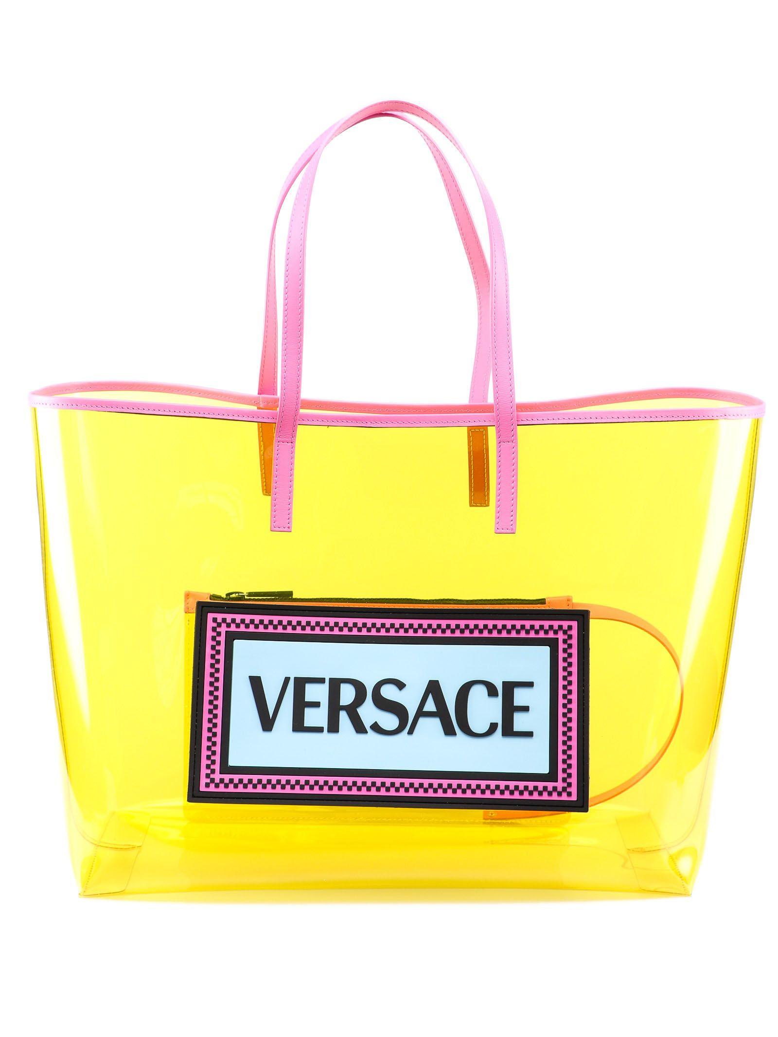 e2c0bd5bdb33 Versace Versace Clear Vinyl Tote - Df2mt Giallo Fluo Multicolor ...