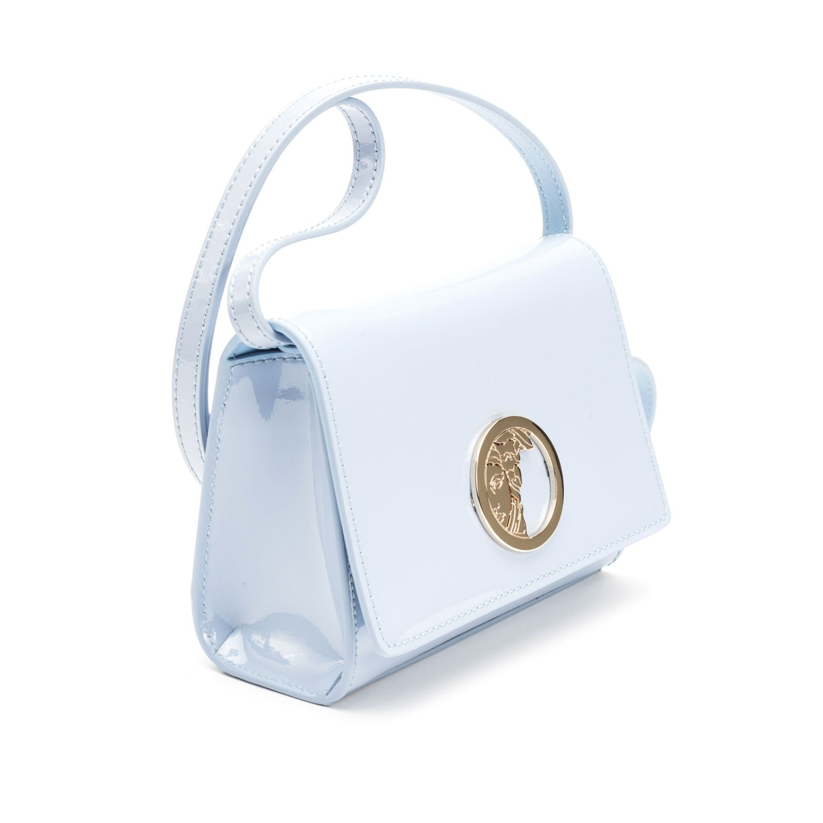 cccb9fb398a7 ... Versace Collection Versace Collection Patent Leather Shoulder Bag -  Light Blue ...