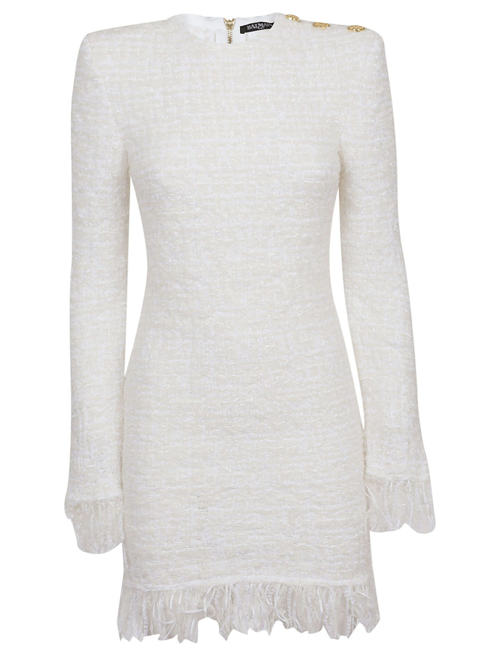8a34a0babdcecc Balmain Balmain Fringed Tweed Dress - Fa Blanc - 10796097