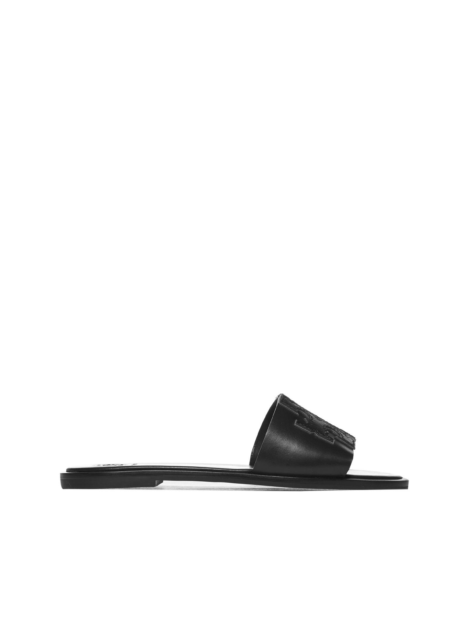 c021cea0da7a Tory Burch Tory Burch Double T Logo Flat Sandals - Black - 10797457 ...