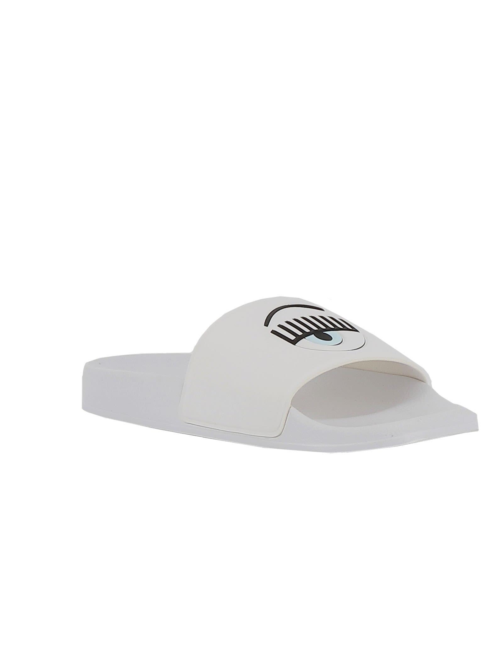 ebaeb22c93f9 Chiara Ferragni Chiara Ferragni White Rubber Slippers - White ...
