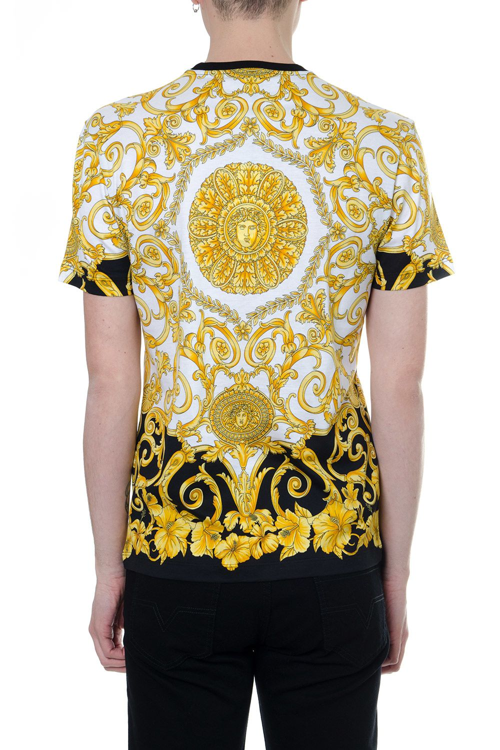 Versace Versace Gold Hibiscus Print T Shirt In Cotton Whitegold