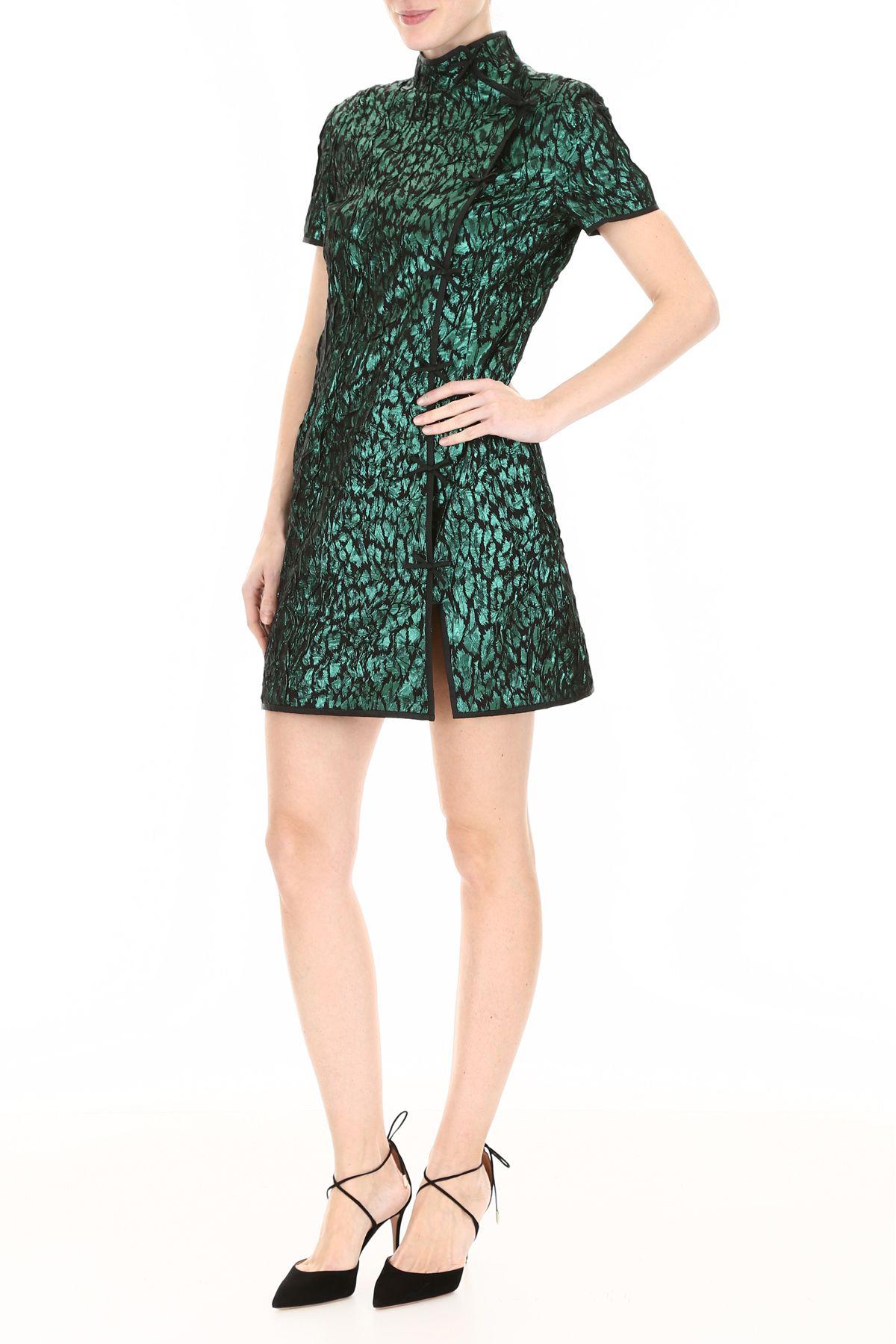 418033c3e0c1b Miu Miu Miu Miu Jacquard Mini Dress - SMERALDO (Black) - 10797563 ...