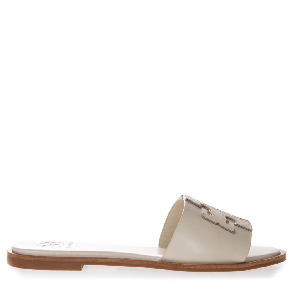a145f72fe Tory Burch Ines Cream Color Leather Embossed Logo Slipper Sandal - White ...