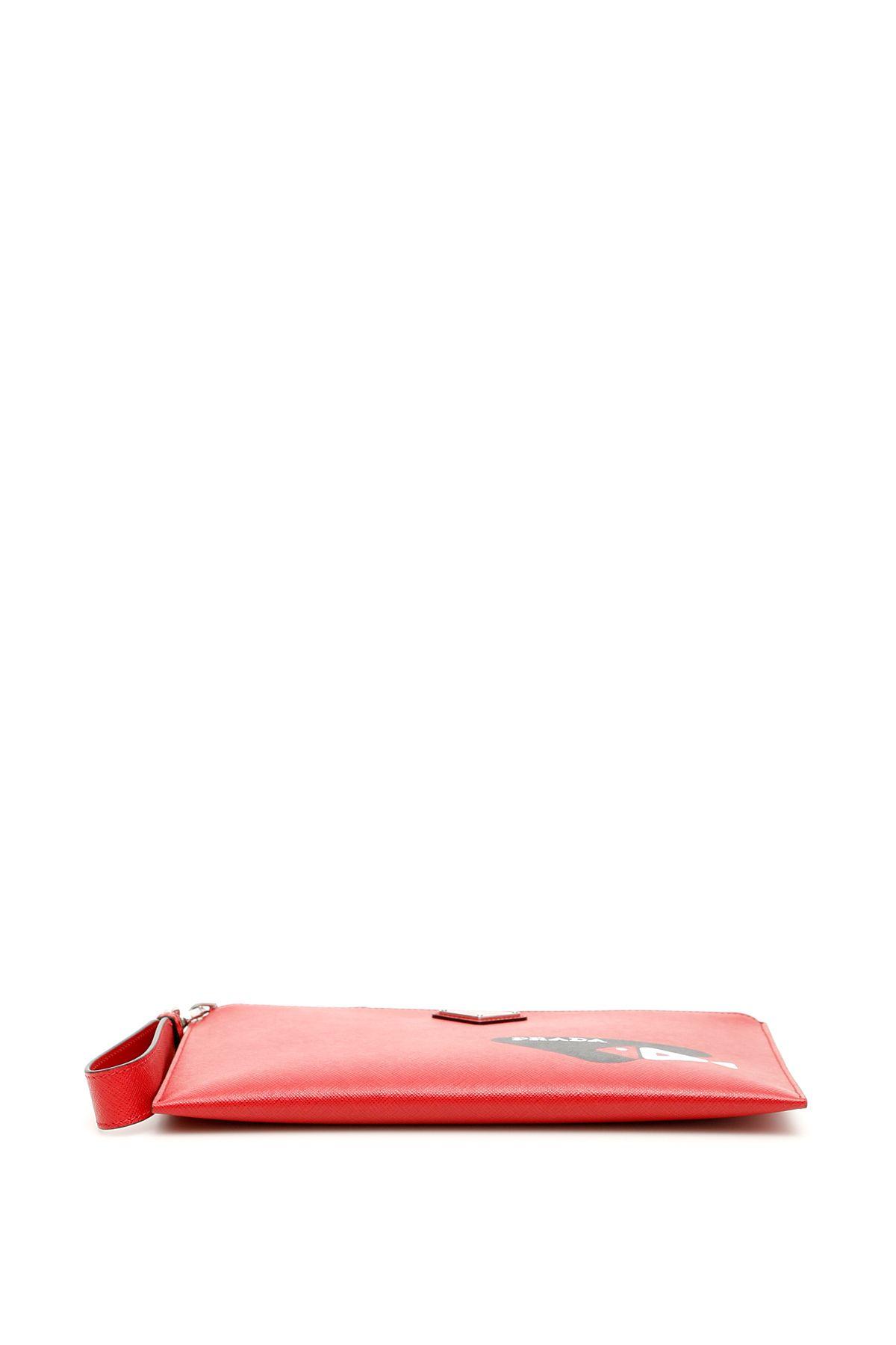 bcdcf7611278 Prada Prada Saffiano Fish Sketch Pouch - FUOCO NERO (Black ...