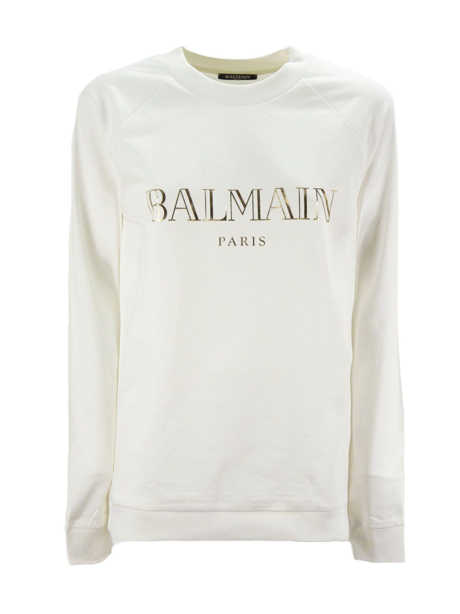 656baf35 Balmain Balmain White And Gold Cotton Sweatshirt - Bianco - 10832079 ...