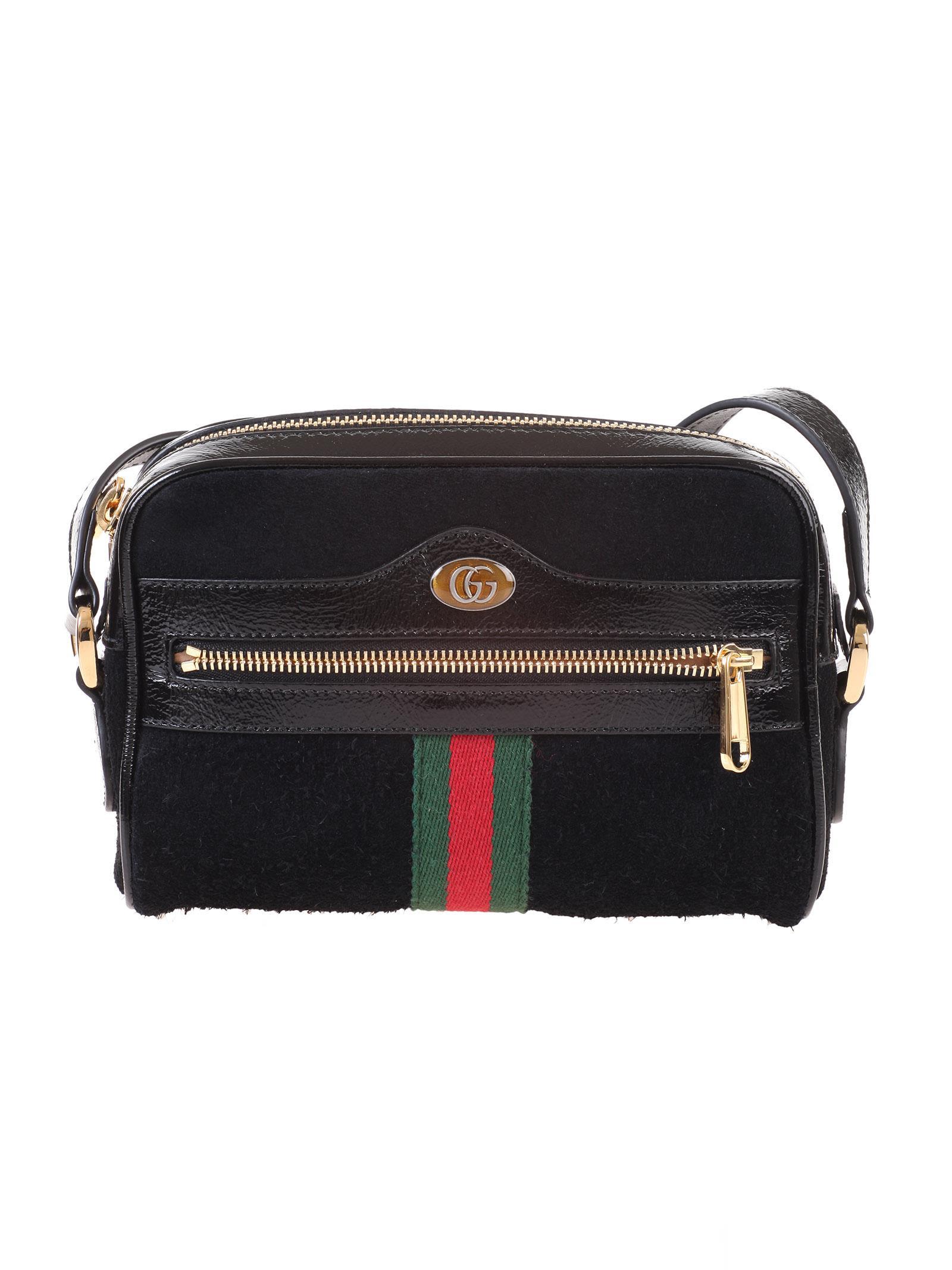 Gucci Shoulder Gucci Black suede Ophidia mini bag