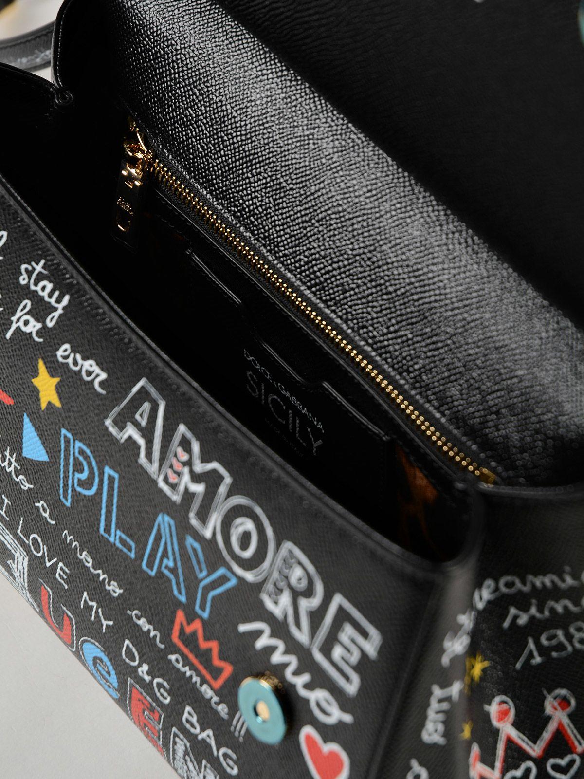 5fece54216 ... Dolce   Gabbana St.dauphine Printed Handbag - Hnpmurales Fdo.nero