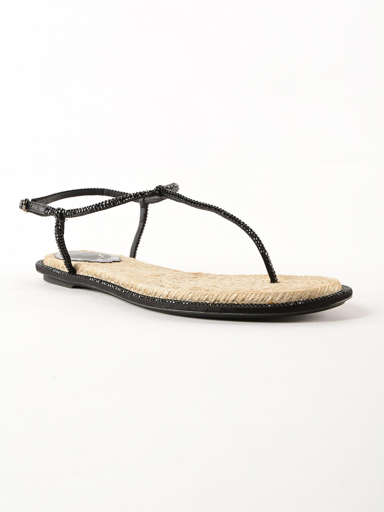... René Caovilla Rene Caovilla Thong Rope Jet Strass Flat Sandals - Black  ...
