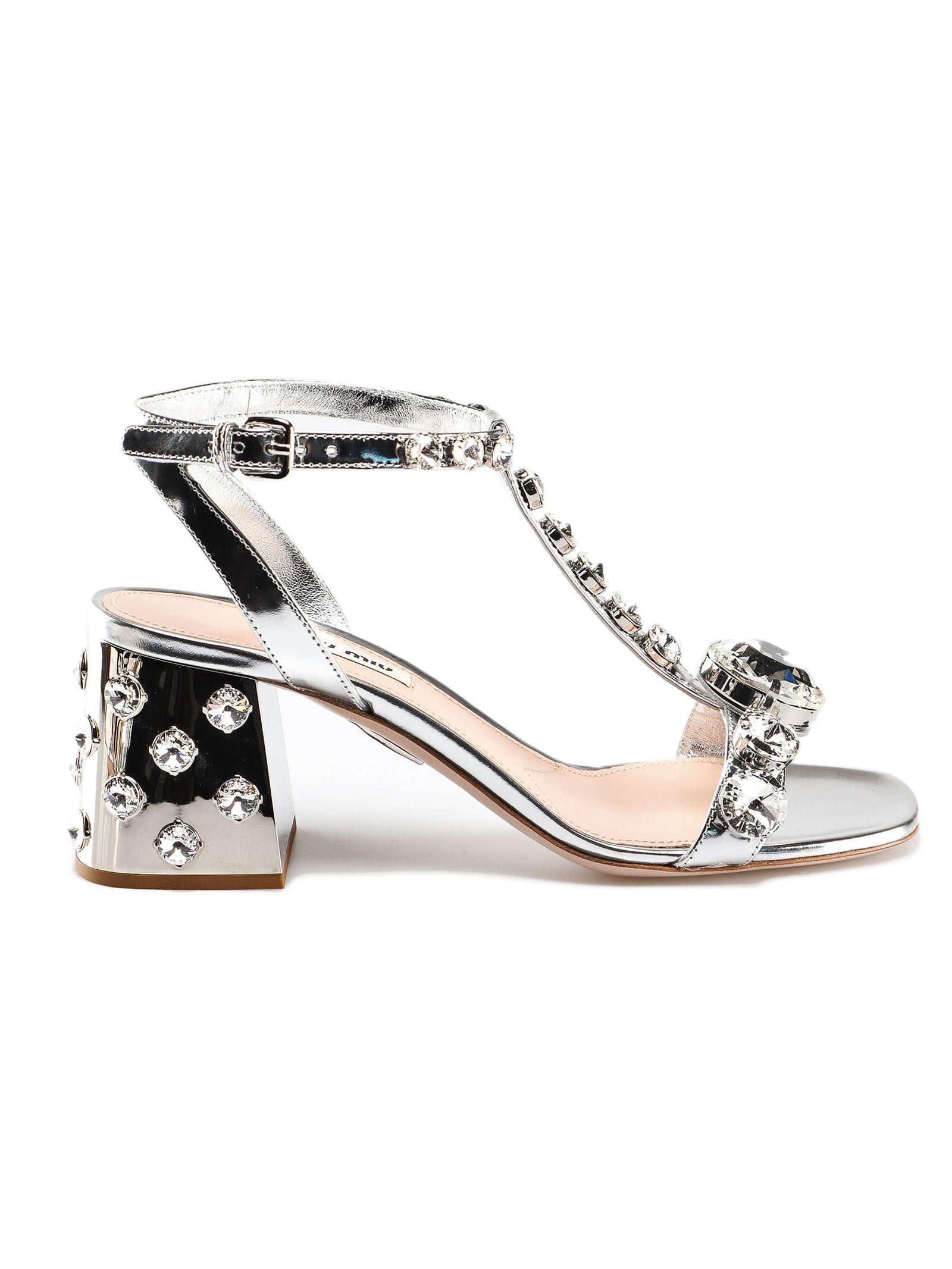 3addd6360 Miu Miu Miu Miu Crystal Embellished Sandals - Argento - 10848985 ...