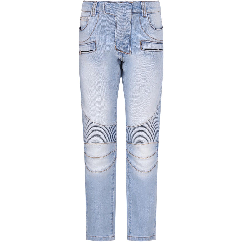 9f0ec618 Balmain Balmain Light Blue Boy Jeans With Silver Logo - Denim ...