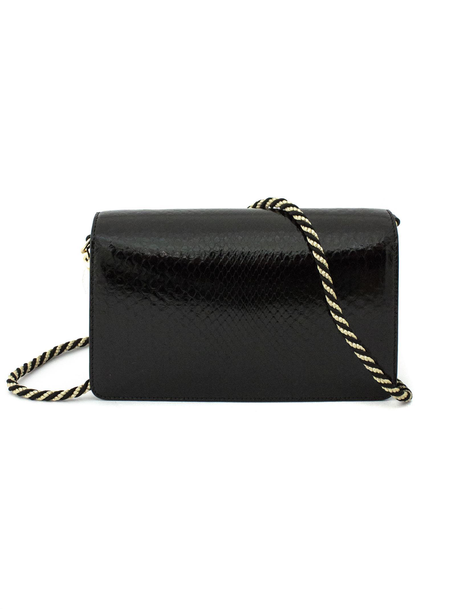 39d383cc5d25 Gucci Gucci Black Python Shoulder Bag With Square G. - Nero ...
