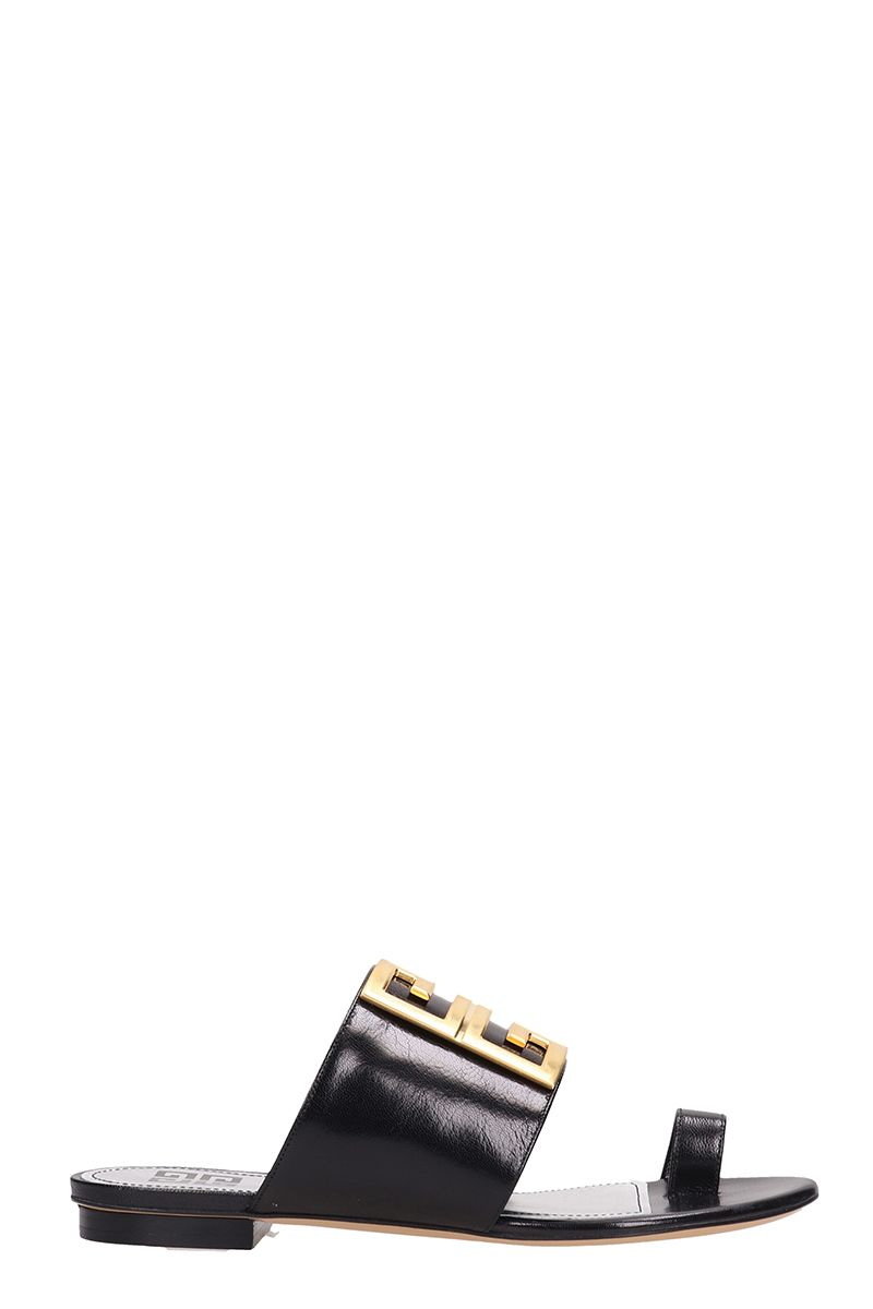 c3f2b48e132 Givenchy Givenchy Flat Leather 4g Logo Slide Sandals - black ...