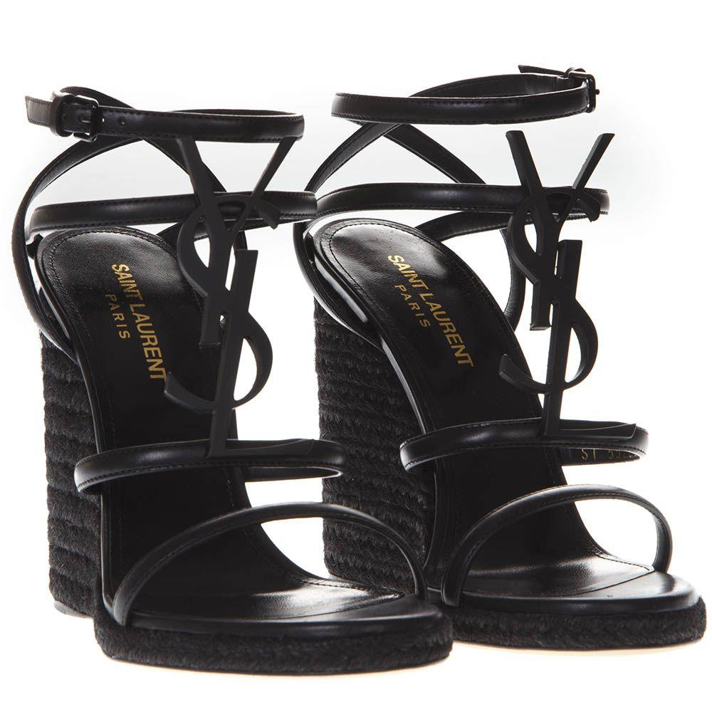 265c20e3000 Saint Laurent Black Cassandra Wedge Espadrilles In Leather - Black ...