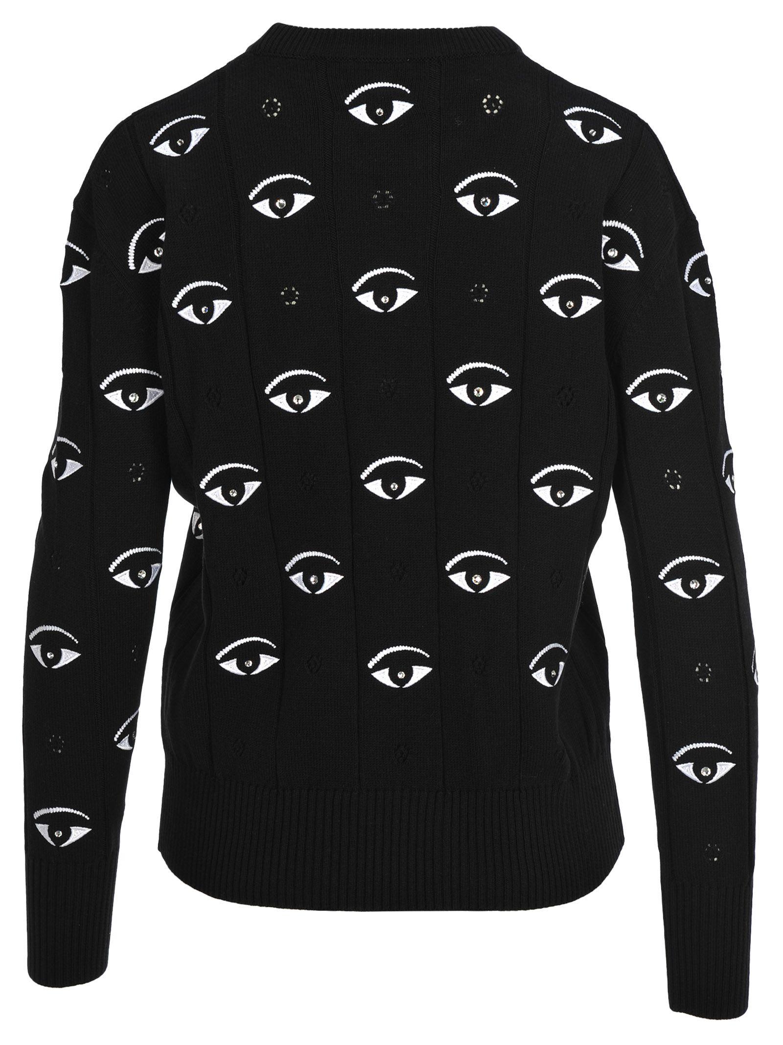 f35c21613 Kenzo Kenzo Kenzo Multi-eye Embroidered Jumper - BLACK - 10875489 ...