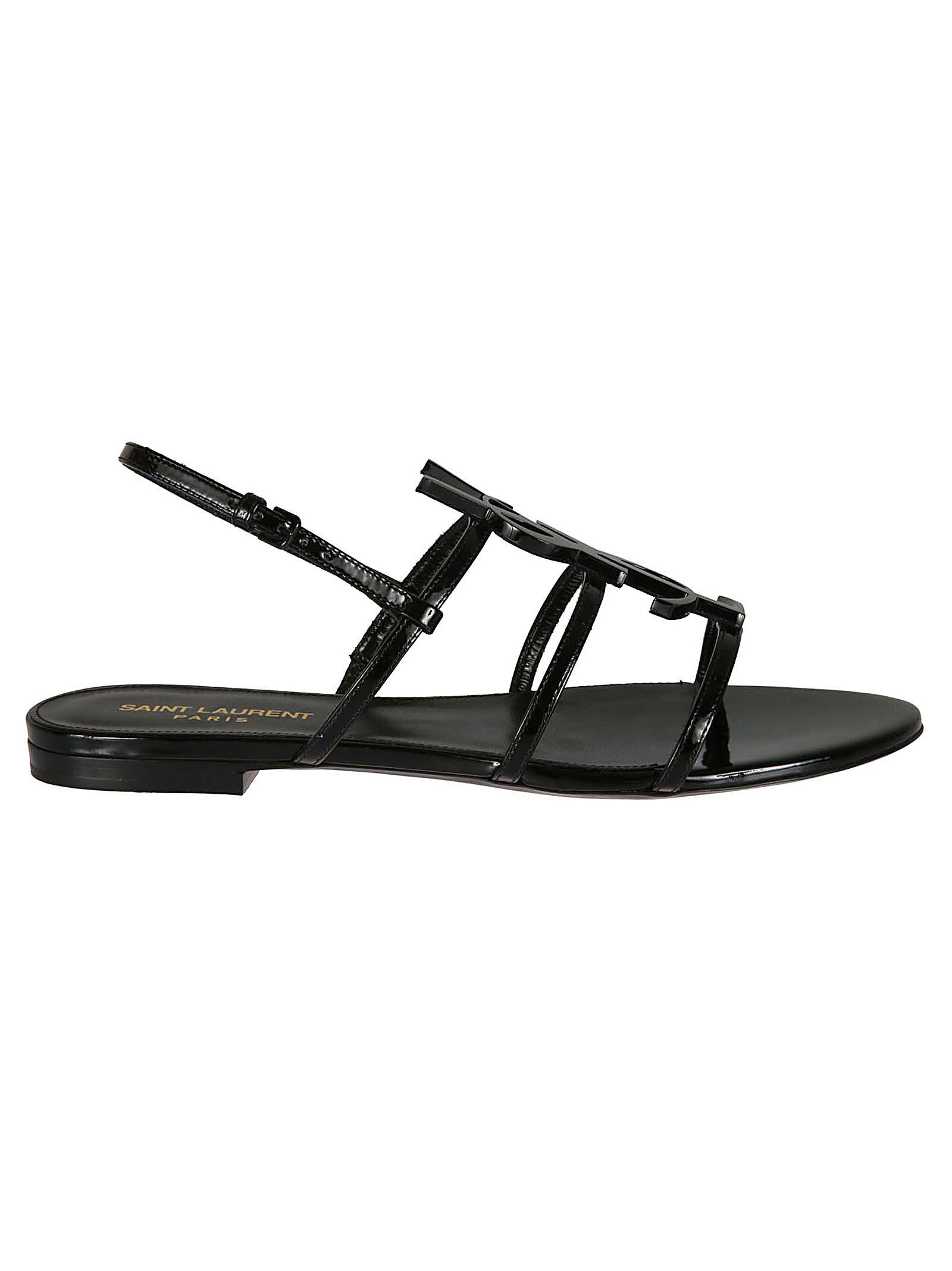 fc947a1f4bc7 Saint Laurent Saint Laurent Cassandra 05 Ysl Flat Sandals - Black ...
