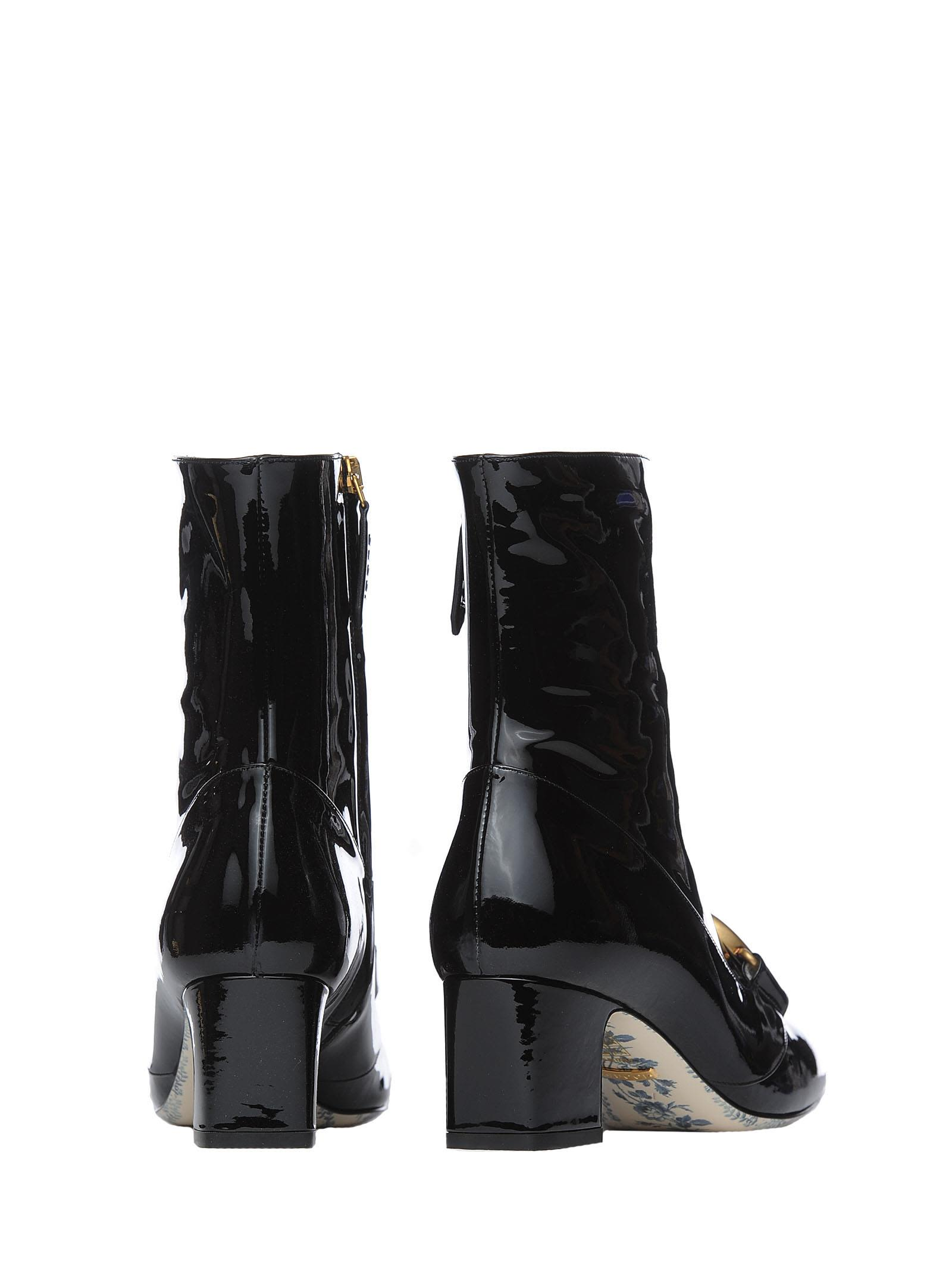 Gucci Gucci Black Patent Leather Ankle Boots With Double G - NERO ... 7f3e65d645c