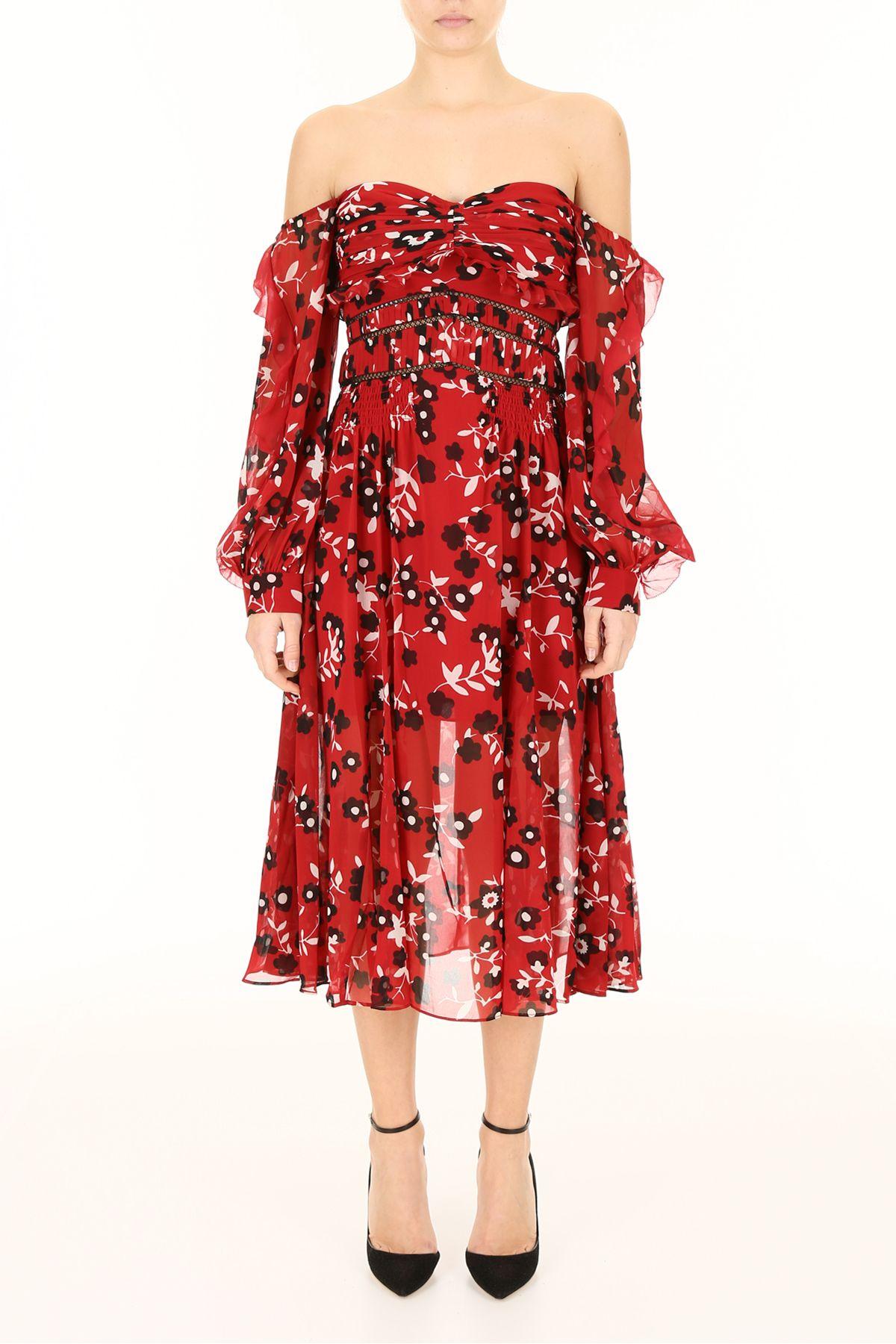 d89ab115aa59 self-portrait self-portrait Floral Print Midi Dress - RED (Red ...