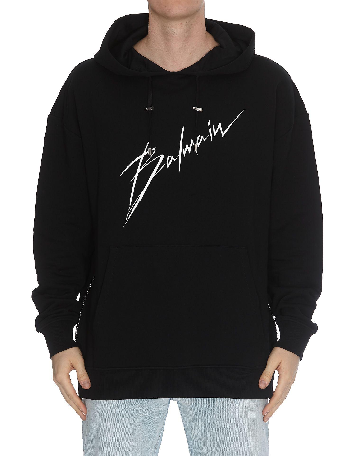 7e192f00 Balmain Balmain Sweat A Capuche Logo Balmain Signature - Black ...