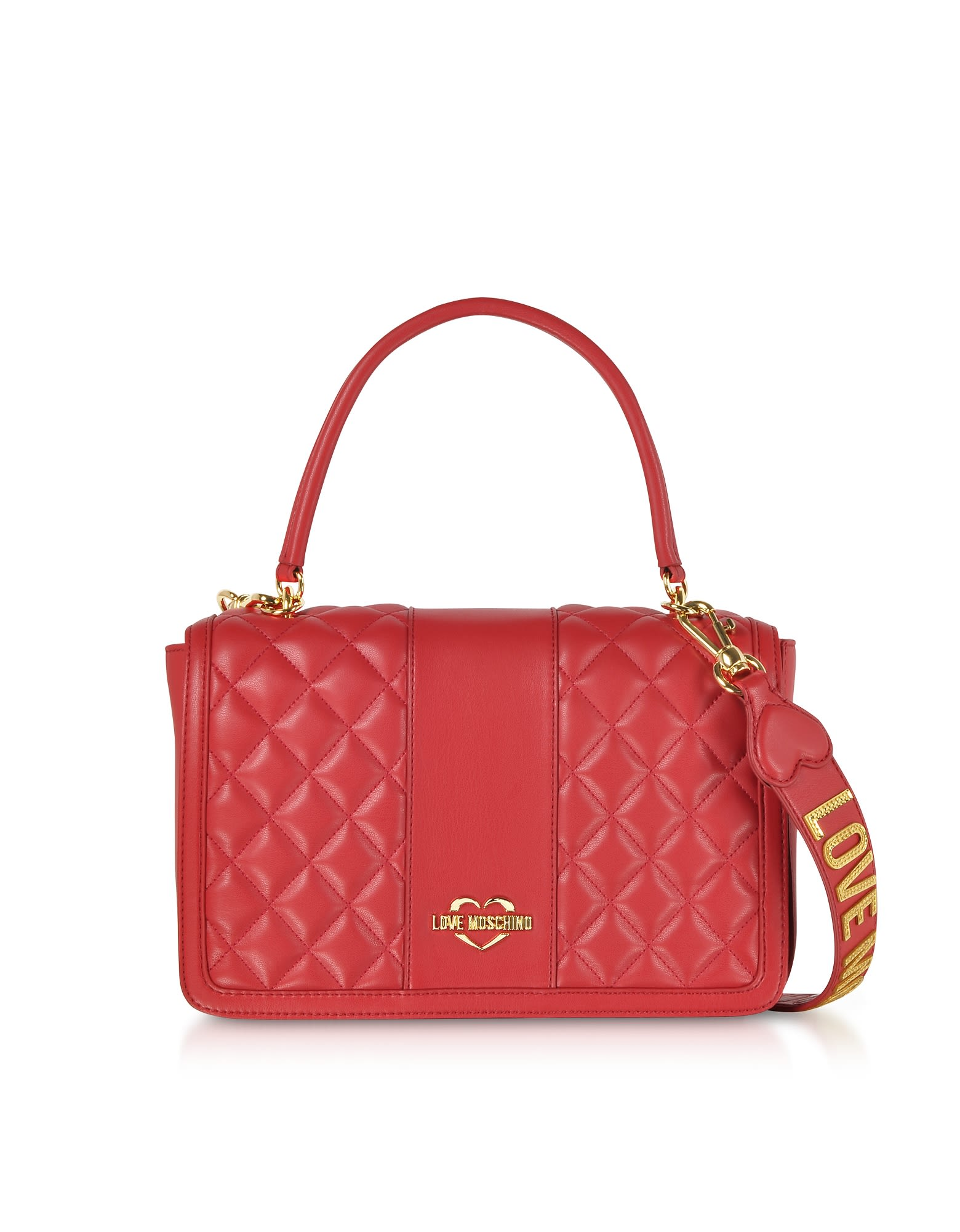 f00154fae566 Love Moschino Quilted Eco Leather Top Handle Bag - Red ...