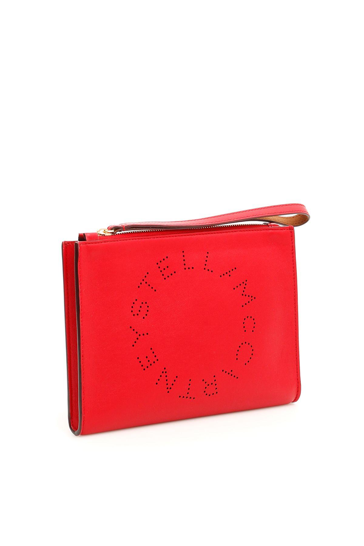 f3105c15e503 Stella McCartney Stella McCartney Logo Flap Zip Clutch - RED