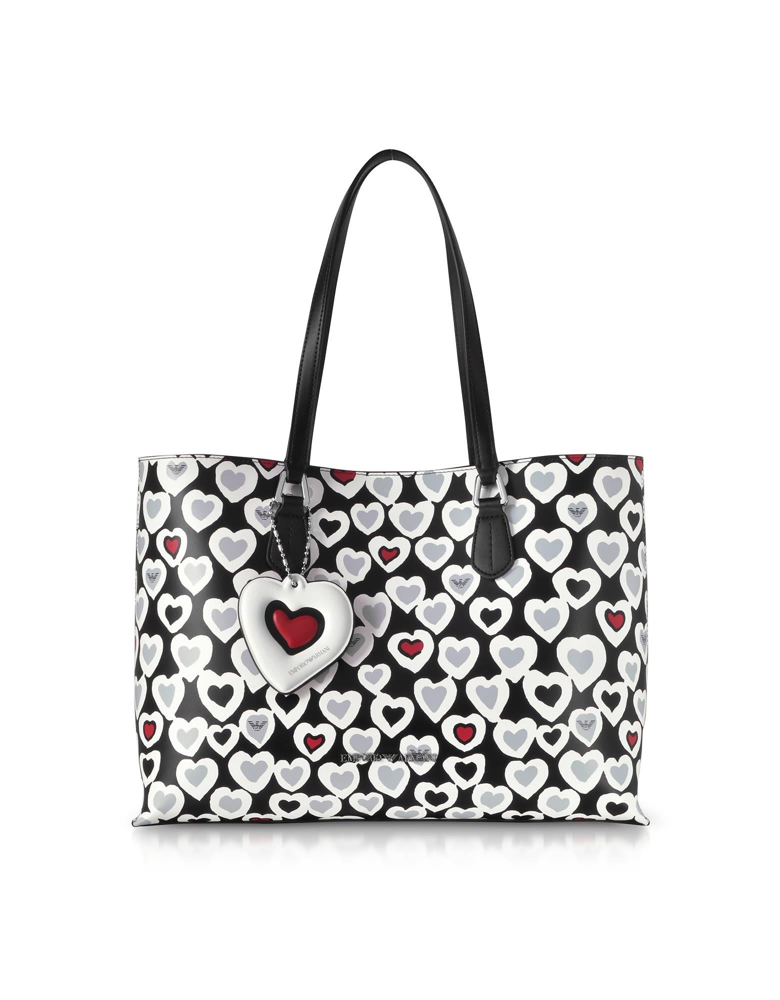 cd9a5dd27a8c Emporio Armani Emporio Armani Heart Print Tote Bag - Black ...