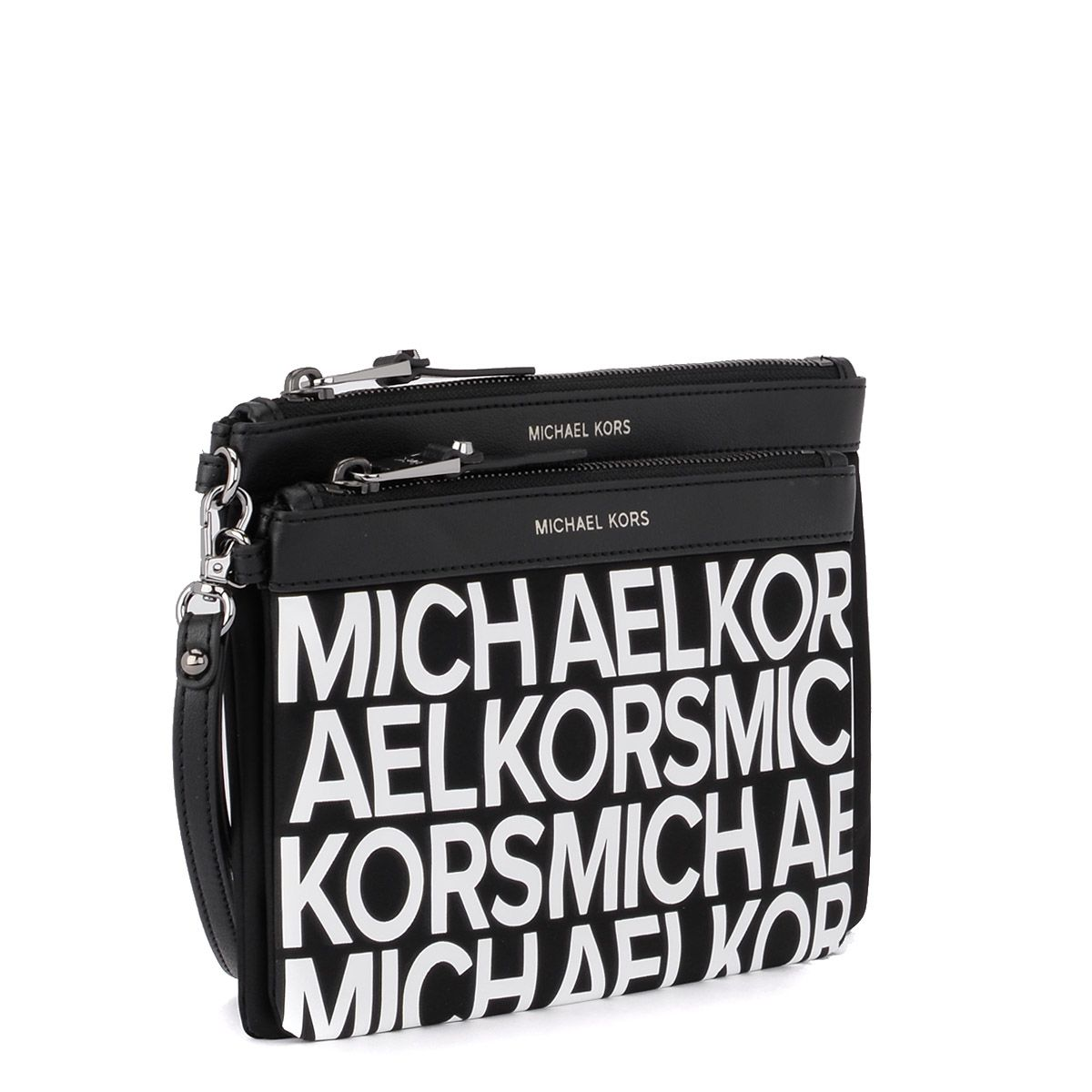 adeac156393f ... Michael Kors Lg Pouch Duo Black Nylon And Leather Double Pochette - NERO  ...