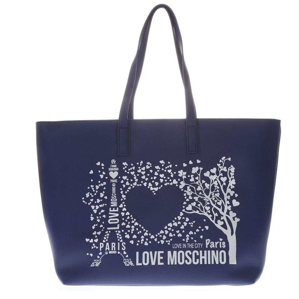 c048815c7b1c Love Moschino Blue Paris Love Moschino Tote Bag In Faux Leather - Blue ...