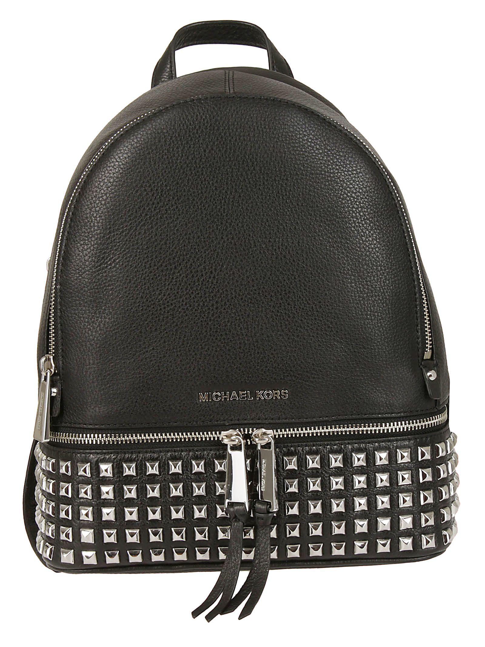 f2356cd58f09 ... closeout michael kors rhea studded backpack nero argento 85f09 cd0d8