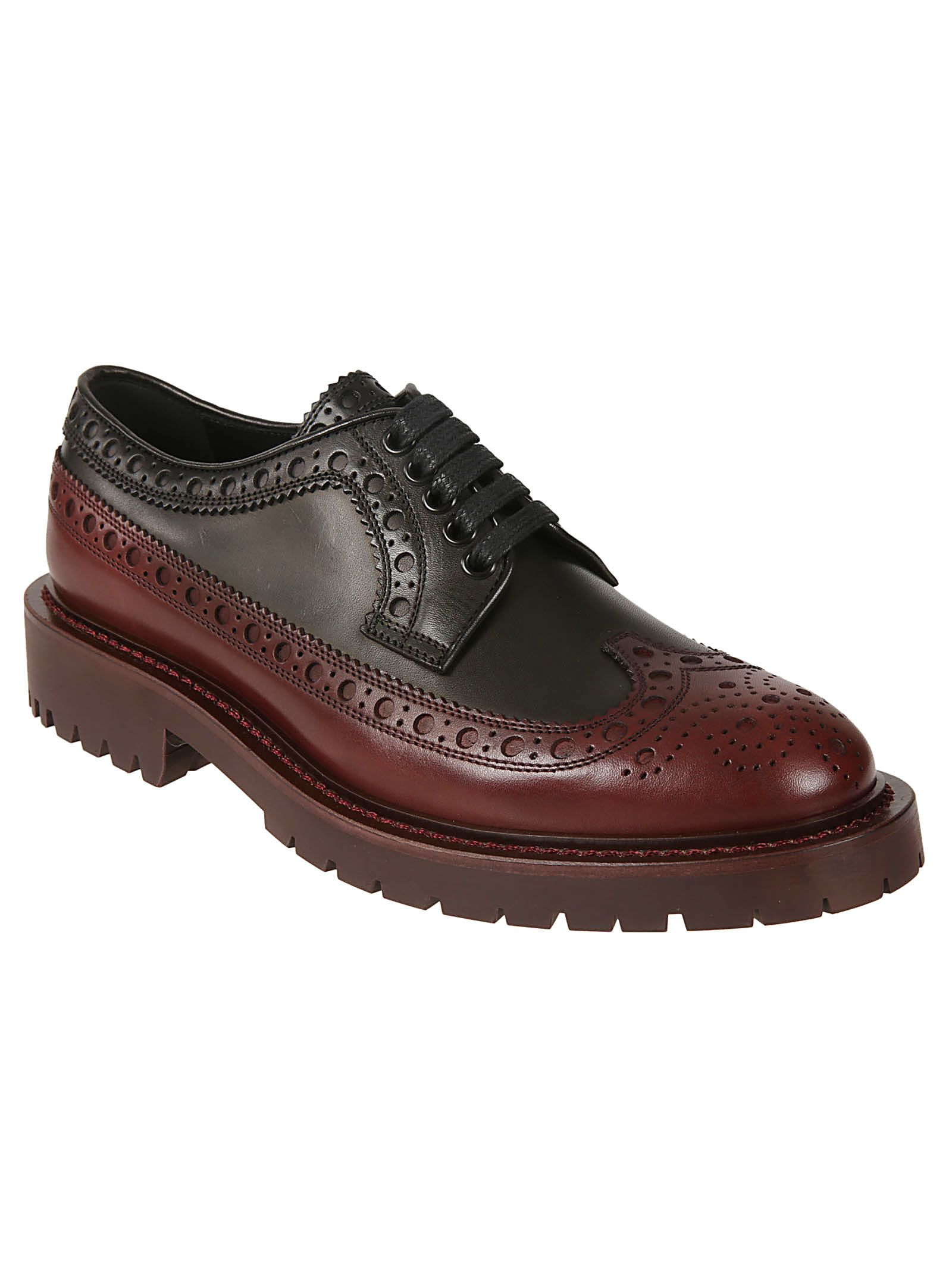 39b47b9ffba4 Burberry Burberry Brogue Detailed Derby Shoes - Black antique garnet ...