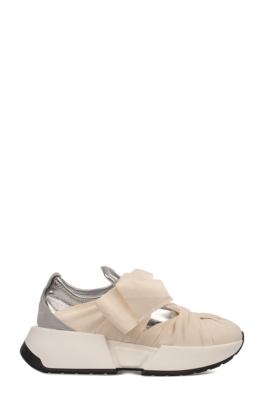 ee7056013de MM6 Maison Margiela Ivory silver Metallic Faux Leather Slip On Wedge  Sneakers - Basic ...