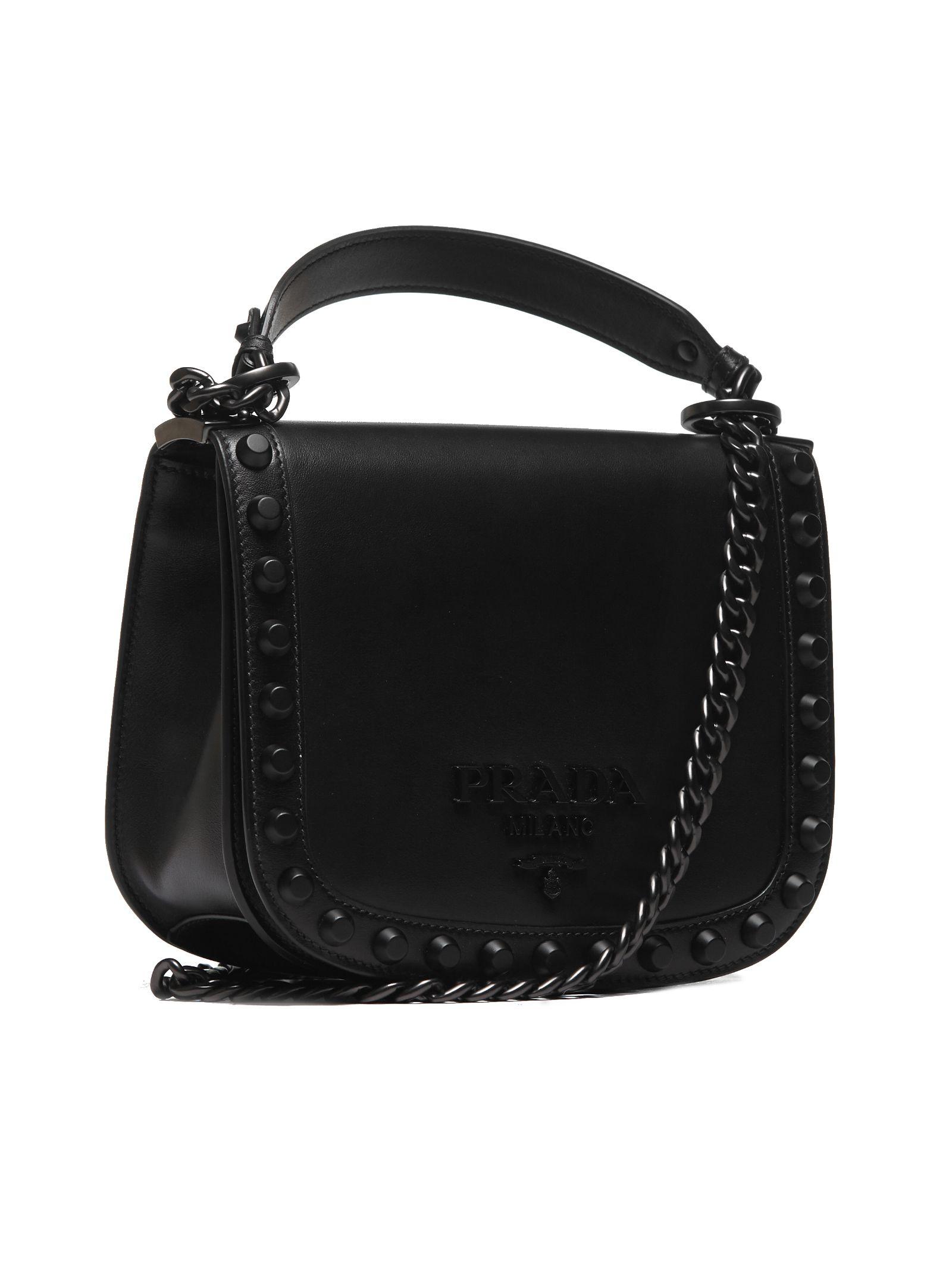 d477013e3f15 Prada Prada Logo Plaque Stud Shoulder Bag - Nero - 10642910 | italist