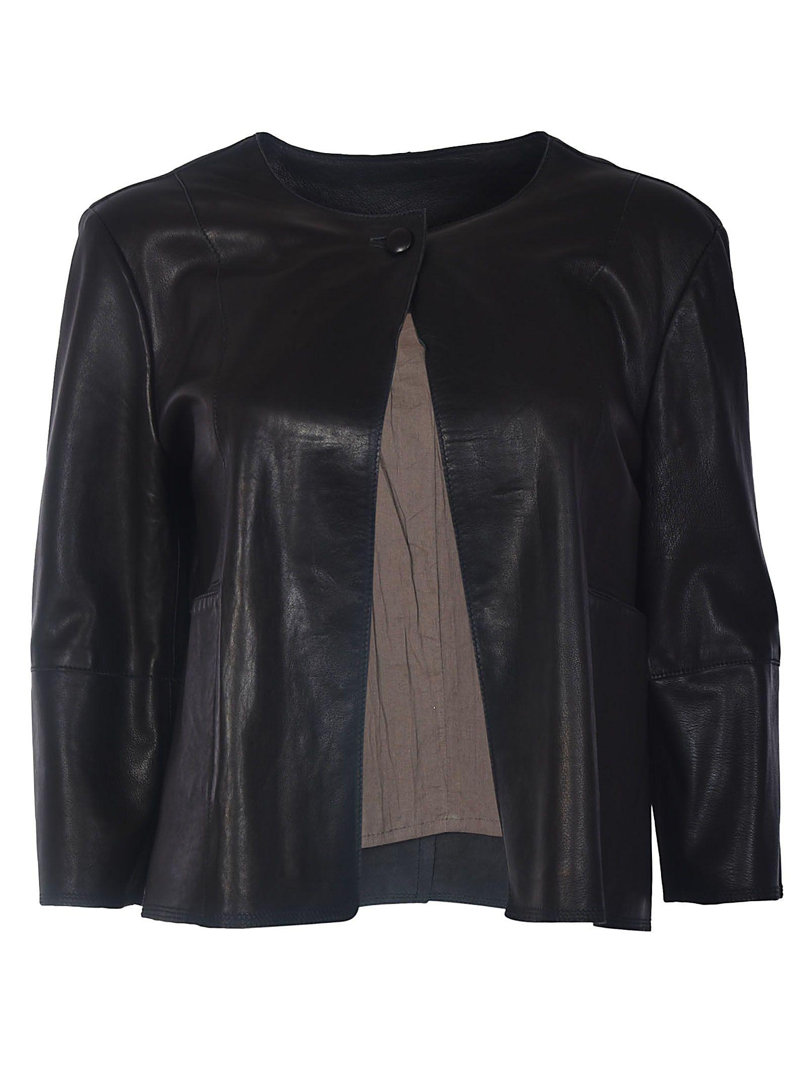 8d36ecb8f79e S.W.O.R.D 6.6.44 S.w.o.r.d Cropped Leather Jacket - BLACK ...