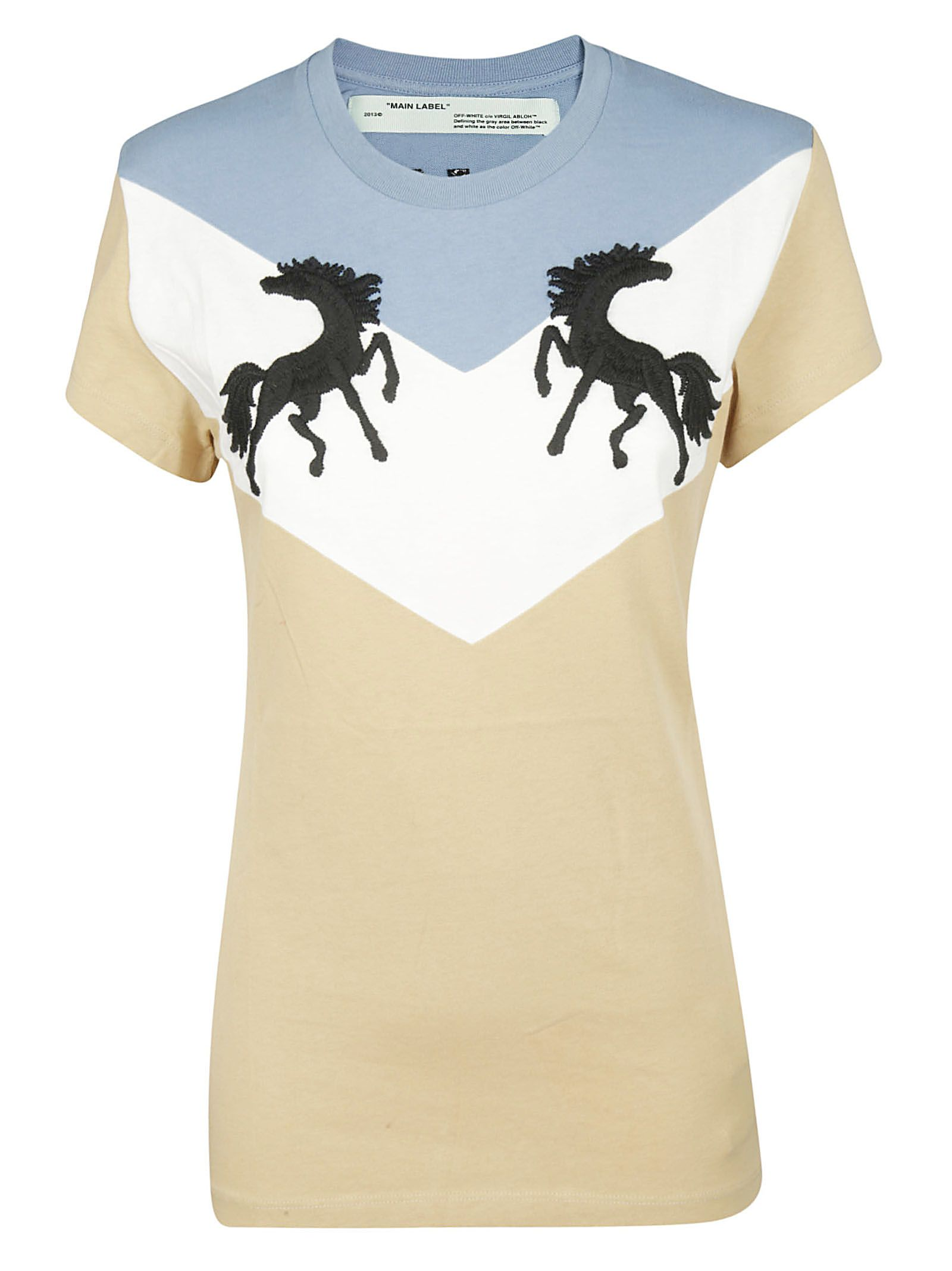 fb41ce701a2d Off-White Off-white Embroidered T-shirt - Beige Black - 10730149 ...
